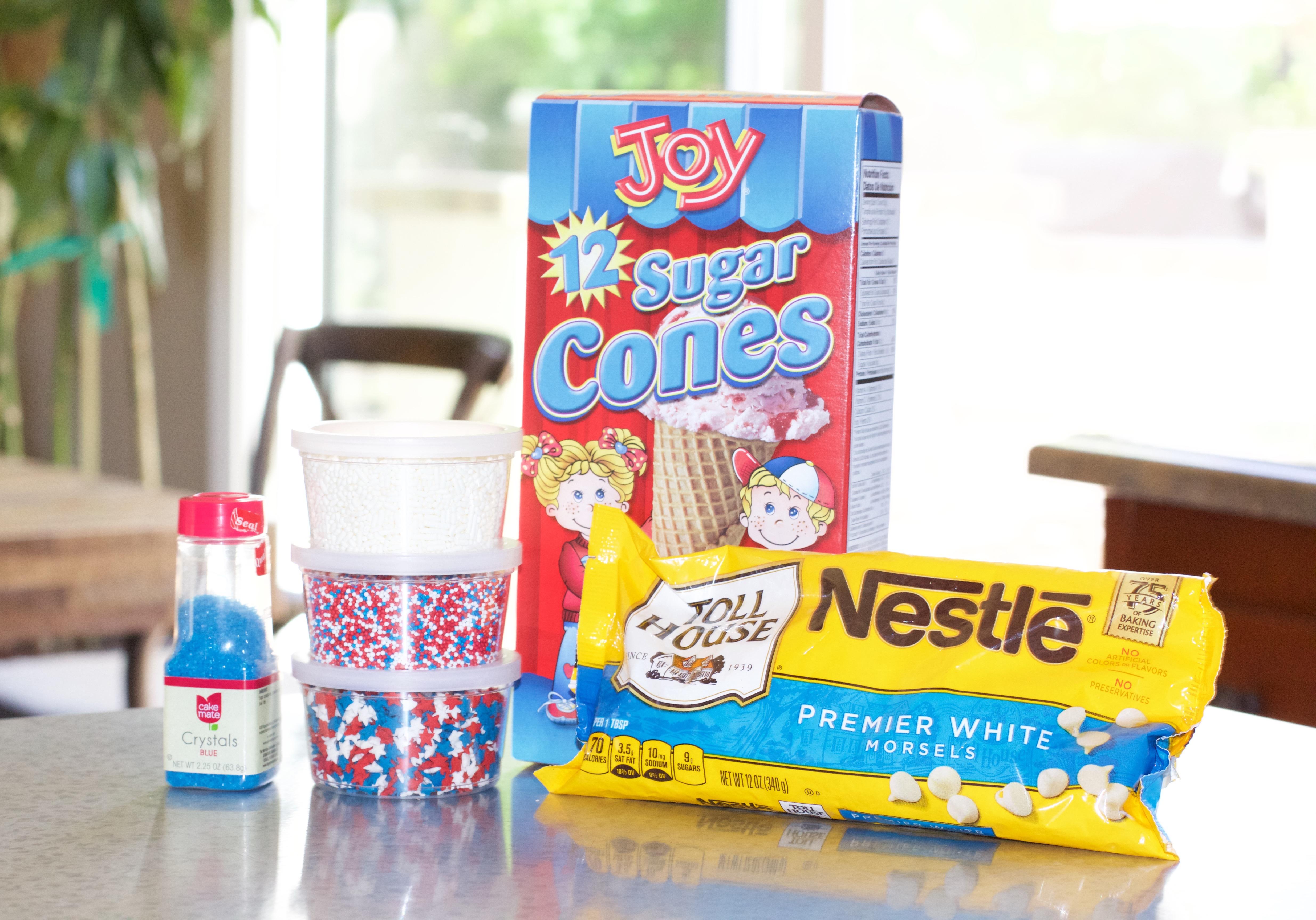 4th of july treat - ice cream cones