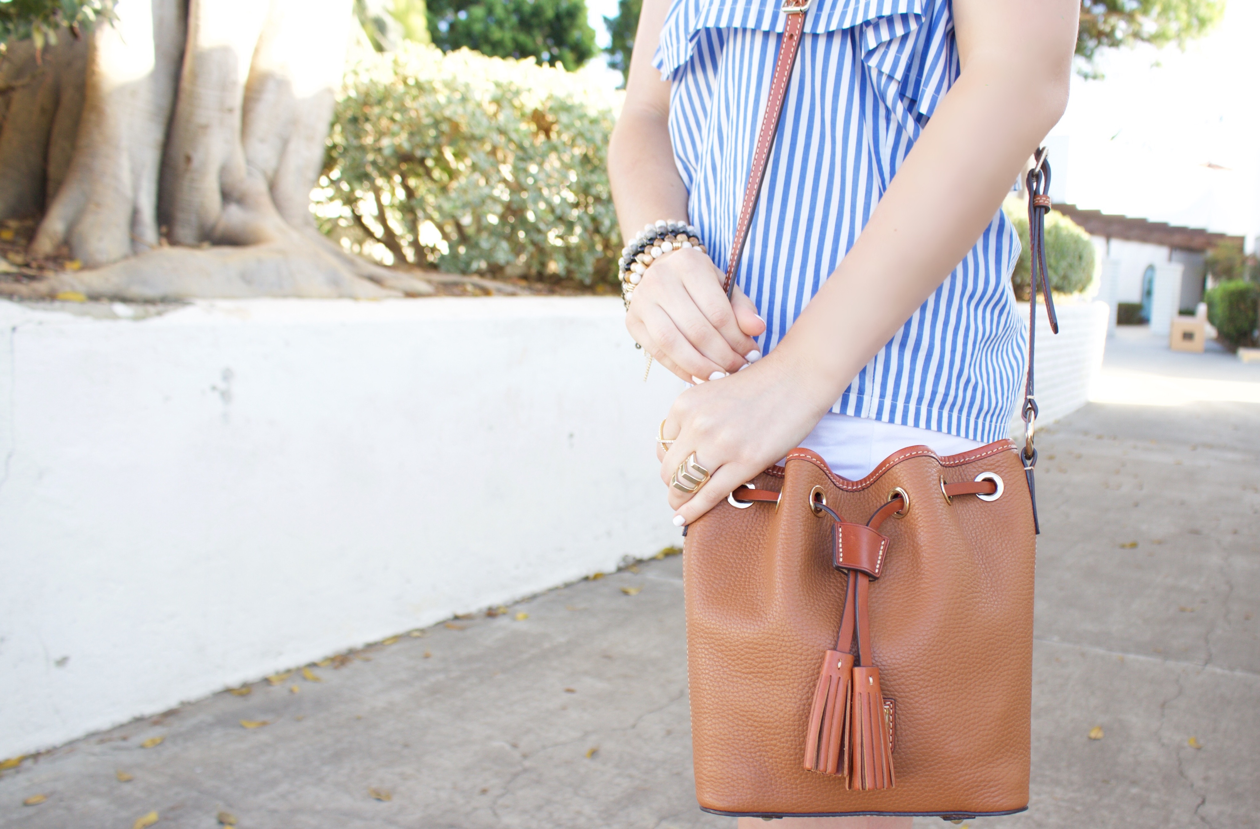 Pebble Kendall Crossbody - Blue and White Striped Strapless Top - My Styled Life