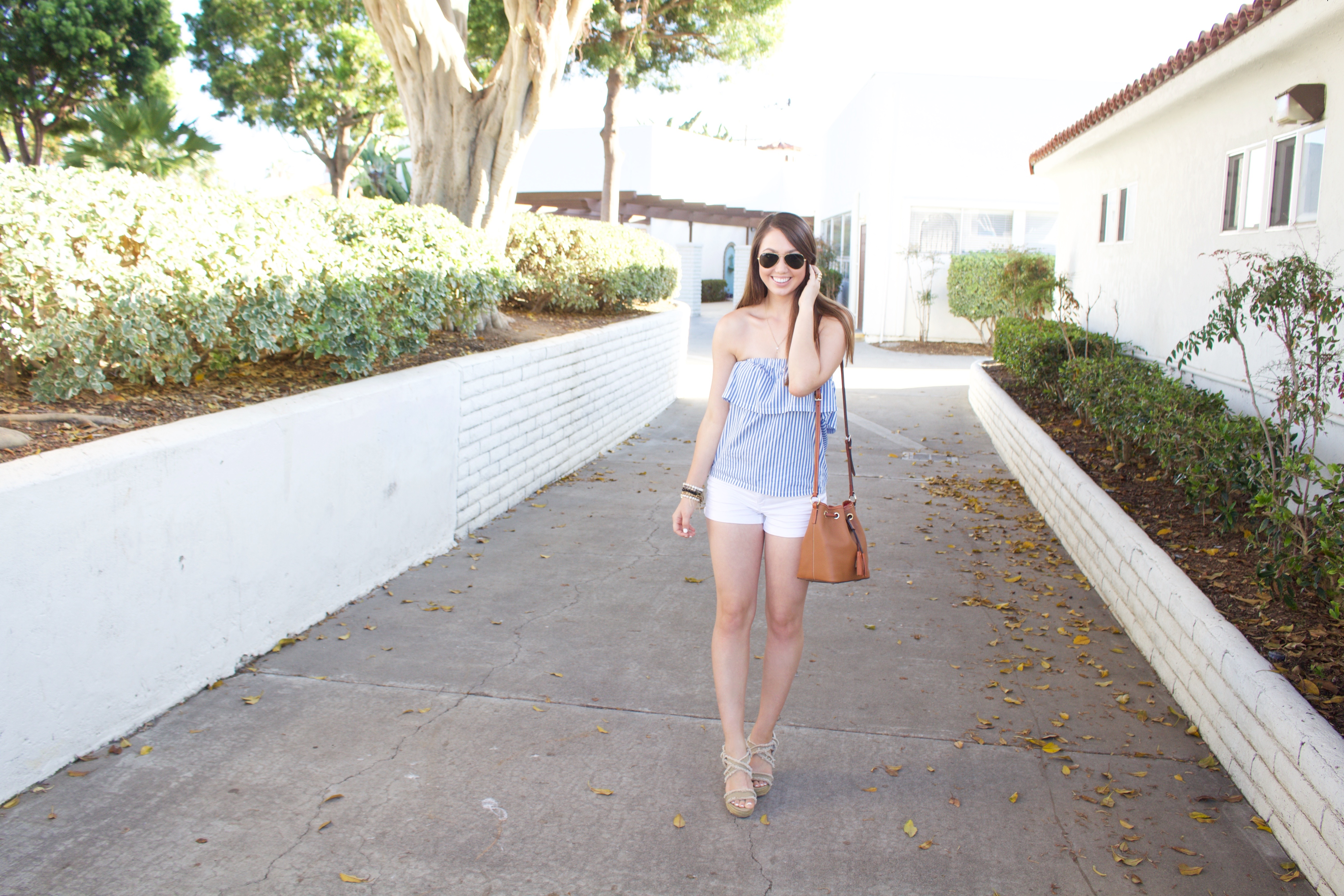 Summer outfit Strapless Top - Blue and White Striped Strapless Top - My Styled Life