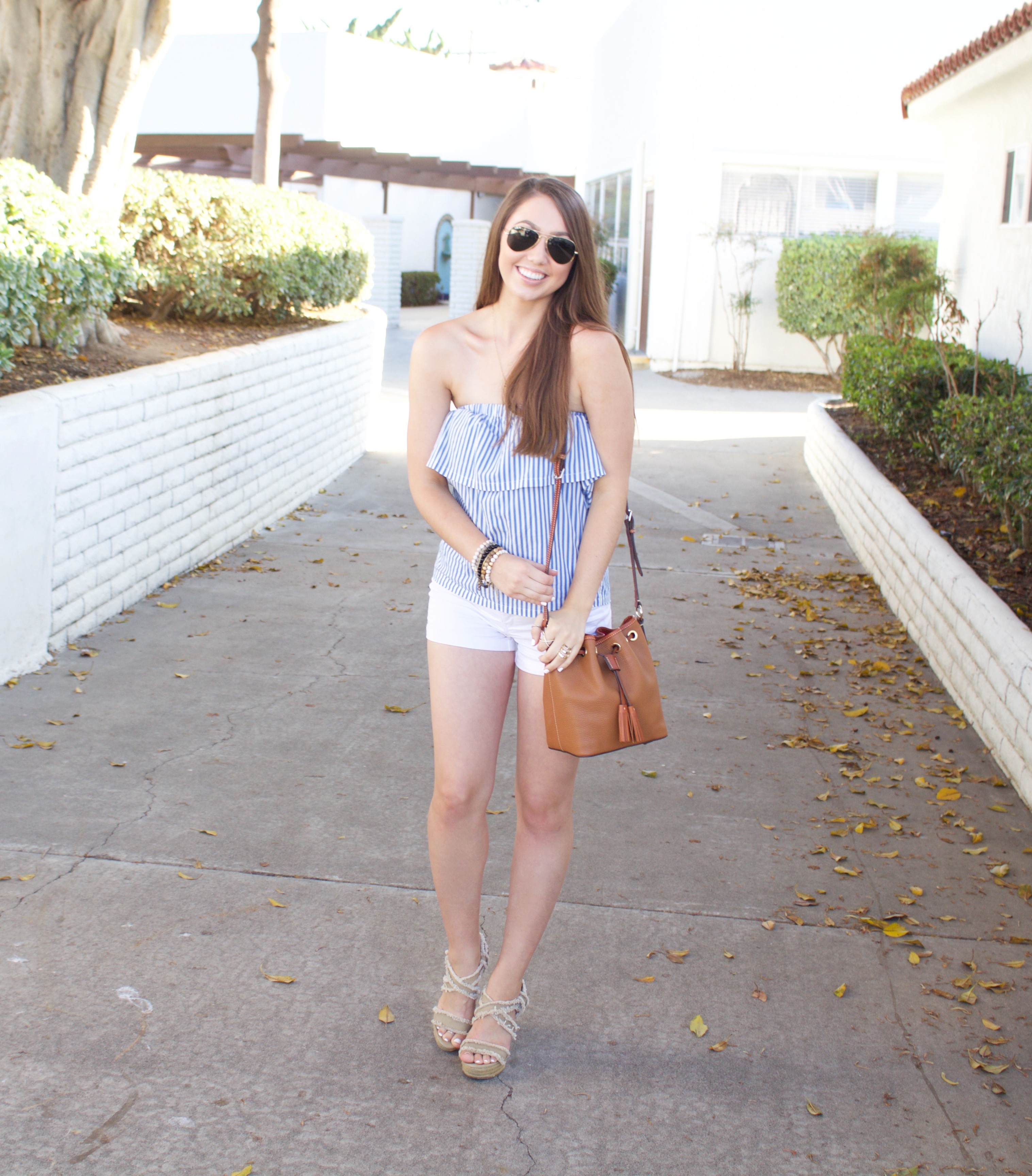 espadrille wedges - Blue and White Striped Strapless Top - My Styled Life