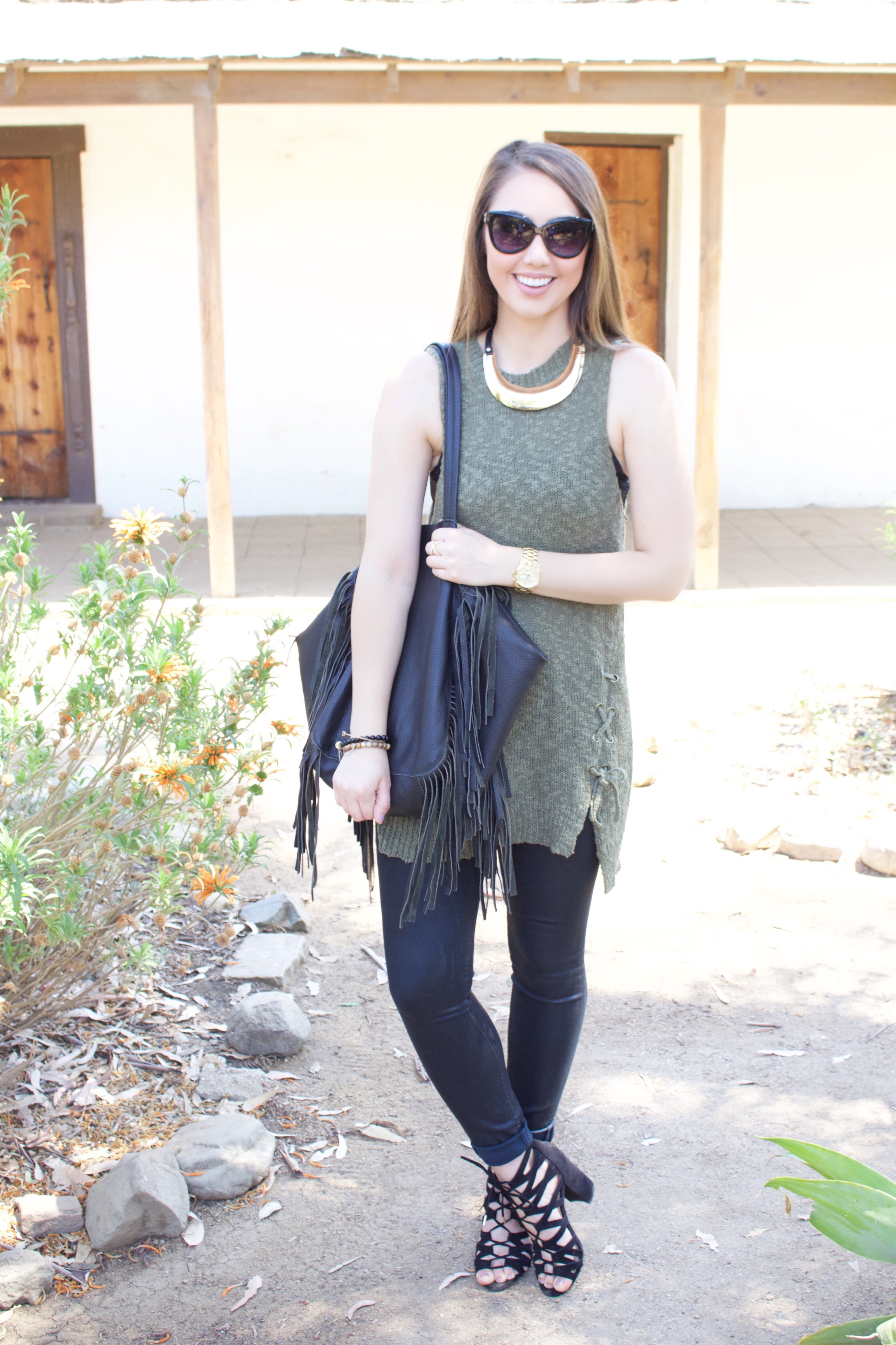 green sleeveless sweater - My Styled Life