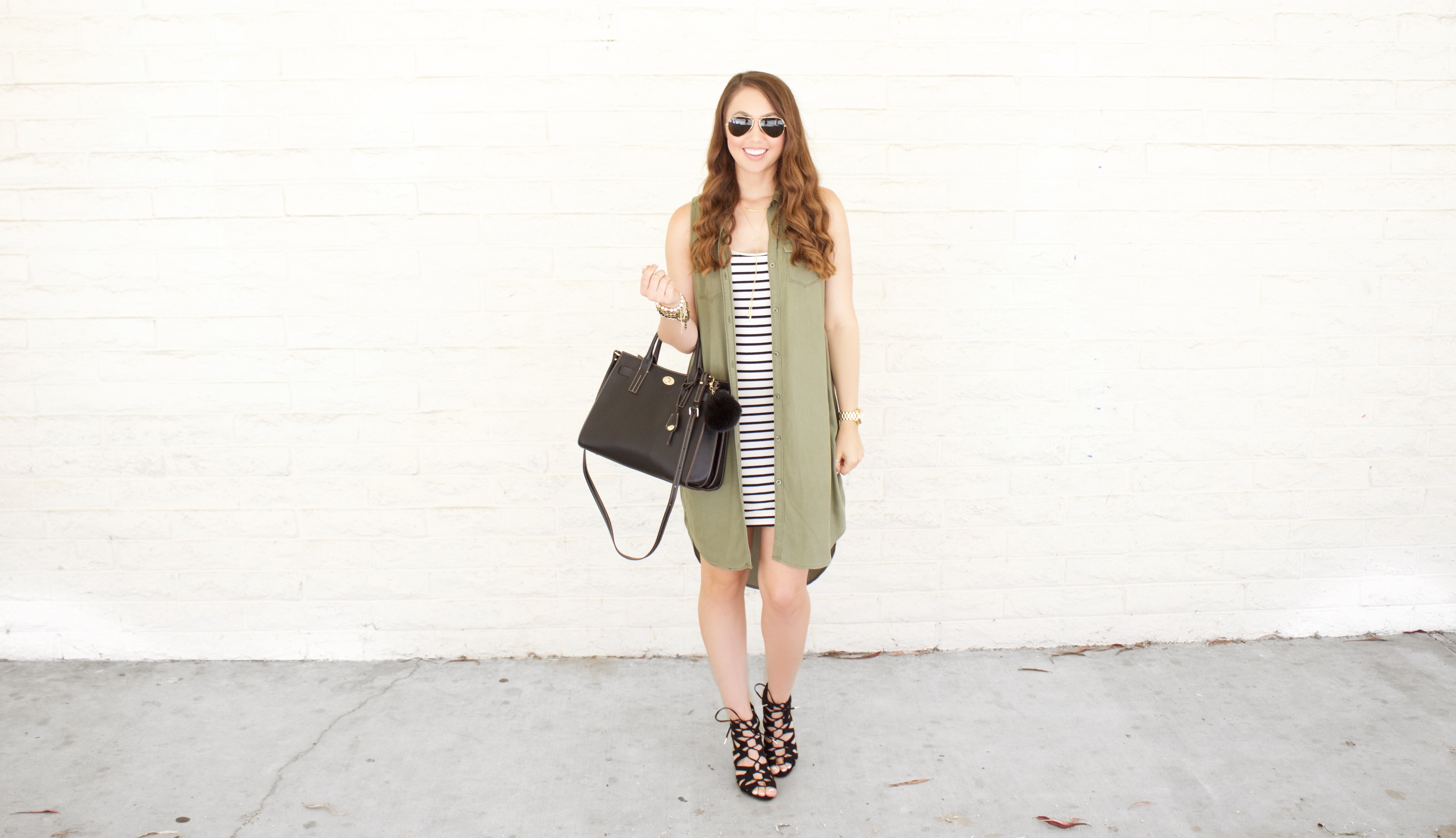 Olive green shirtdress, Nordstrom, My Styled Life