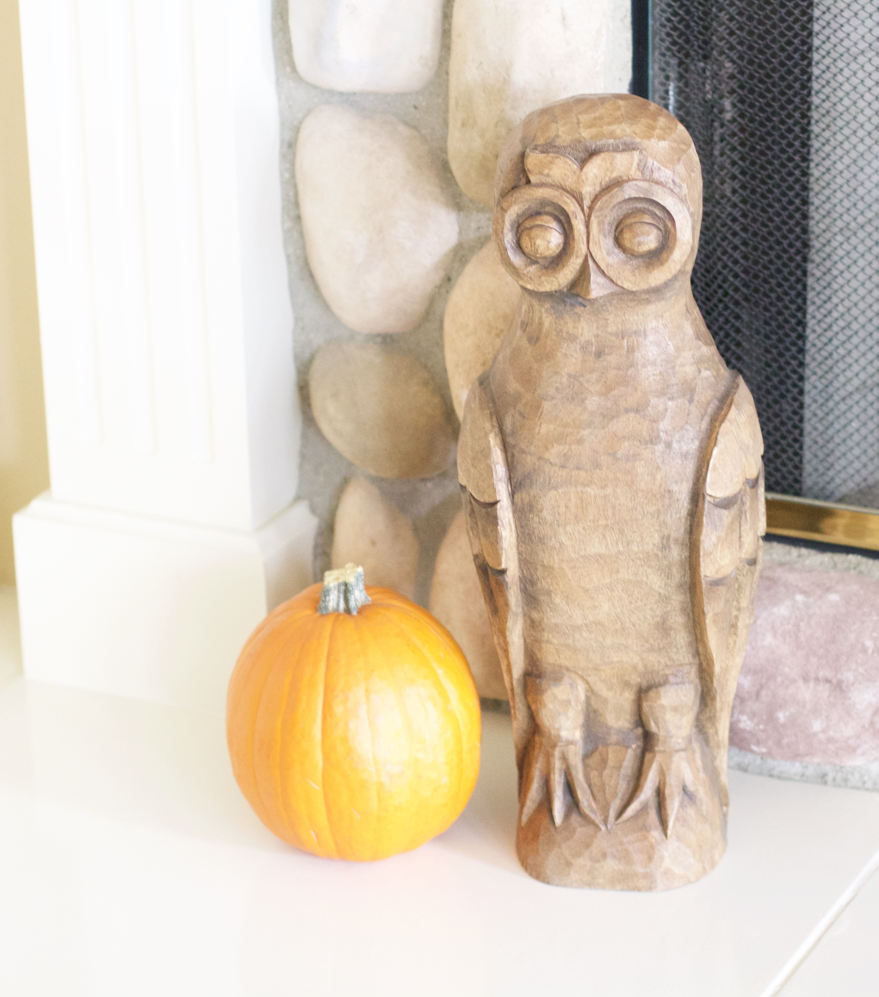 Pottery Barn carved wood owl