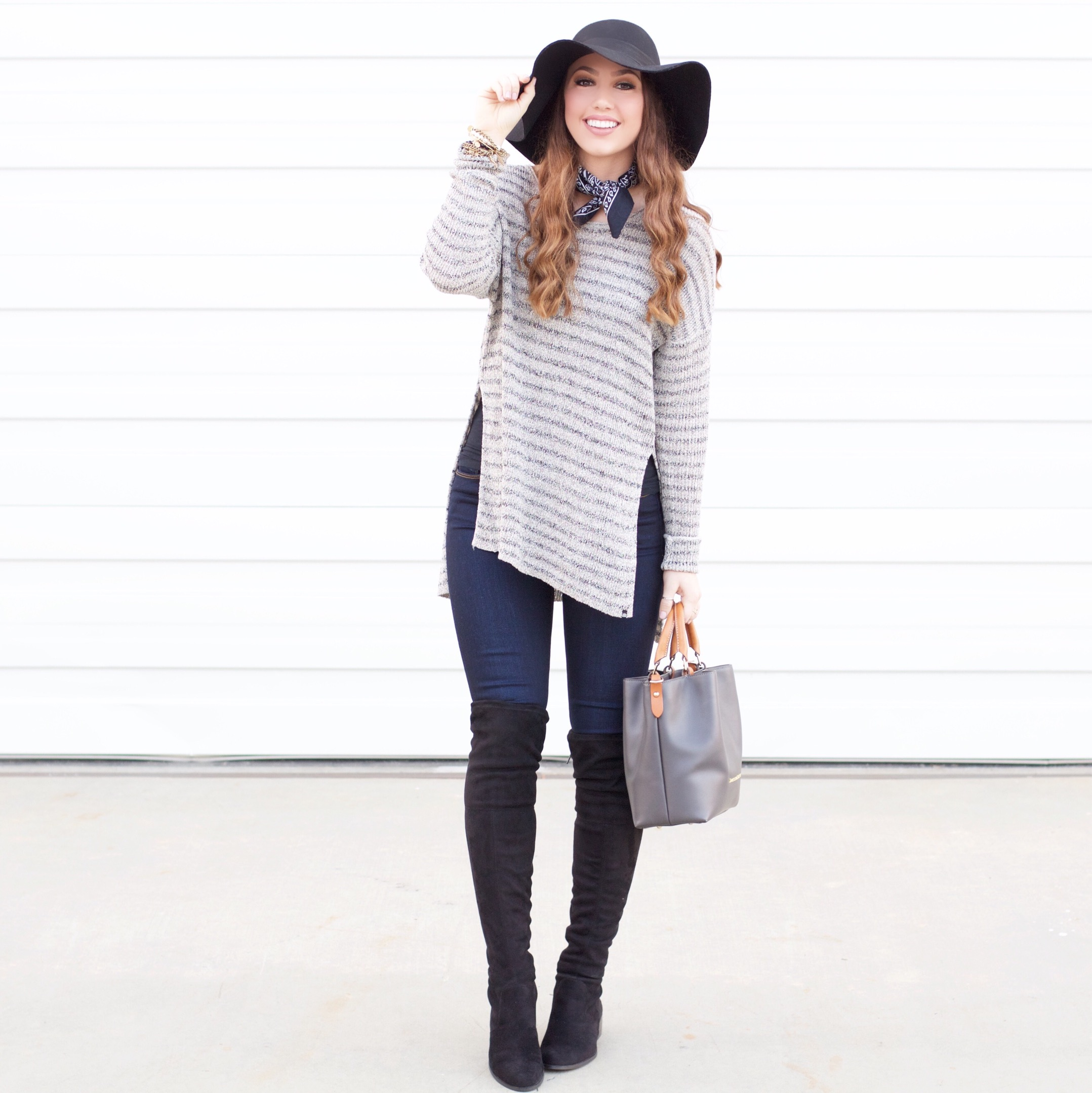 cute winter outfit w/ over the knee boots