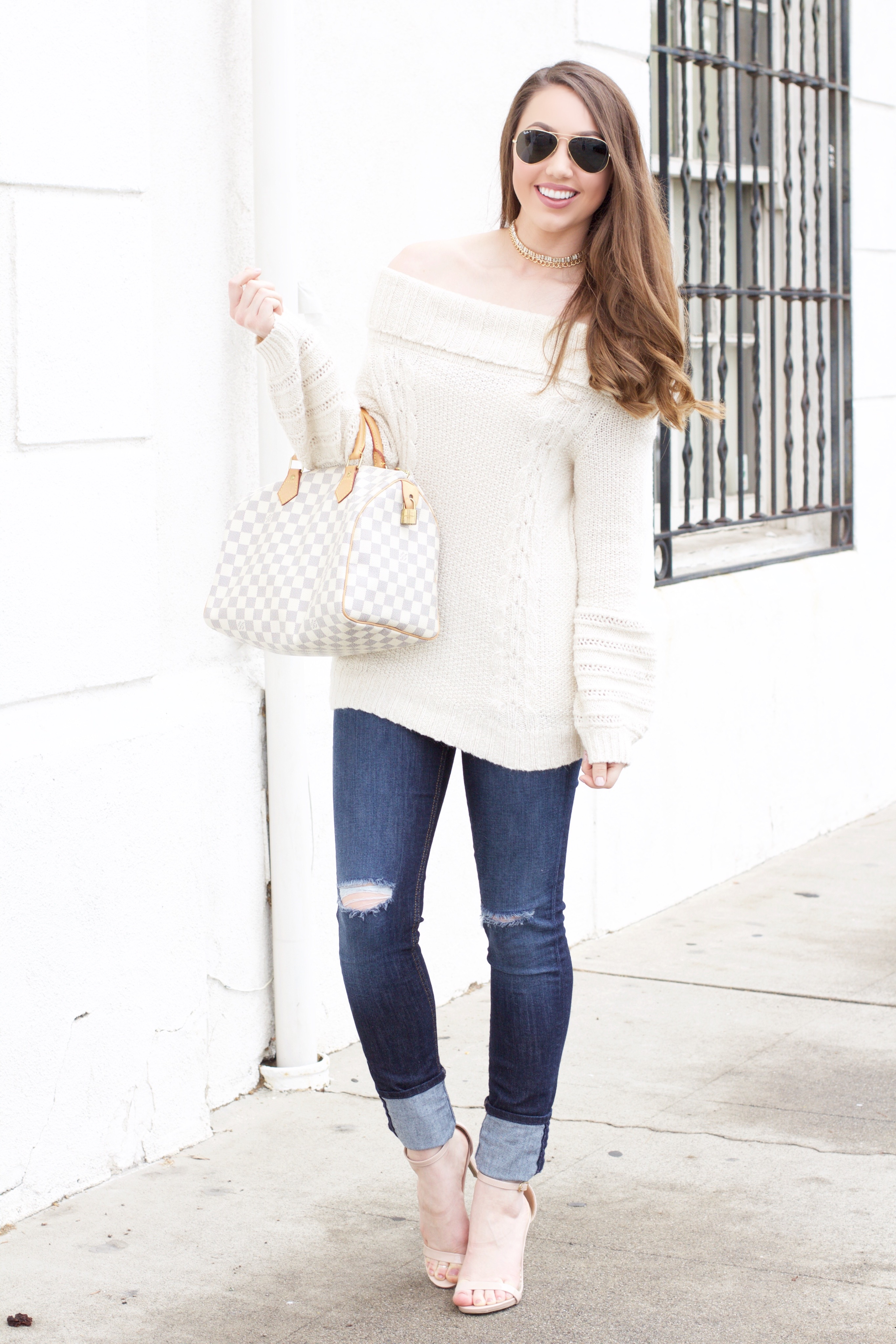 ivory off-the-shoulder sweater
