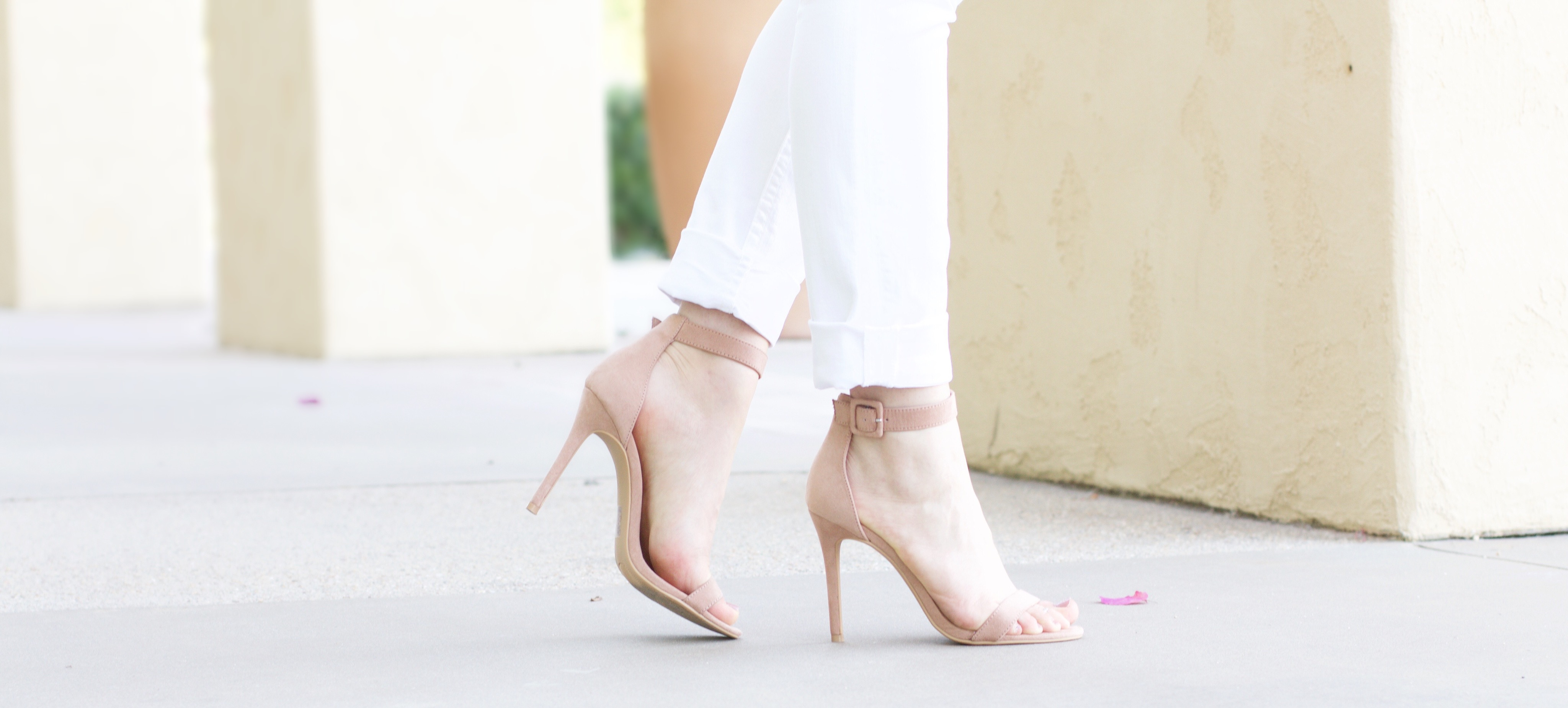 blush suede ankle strap heels