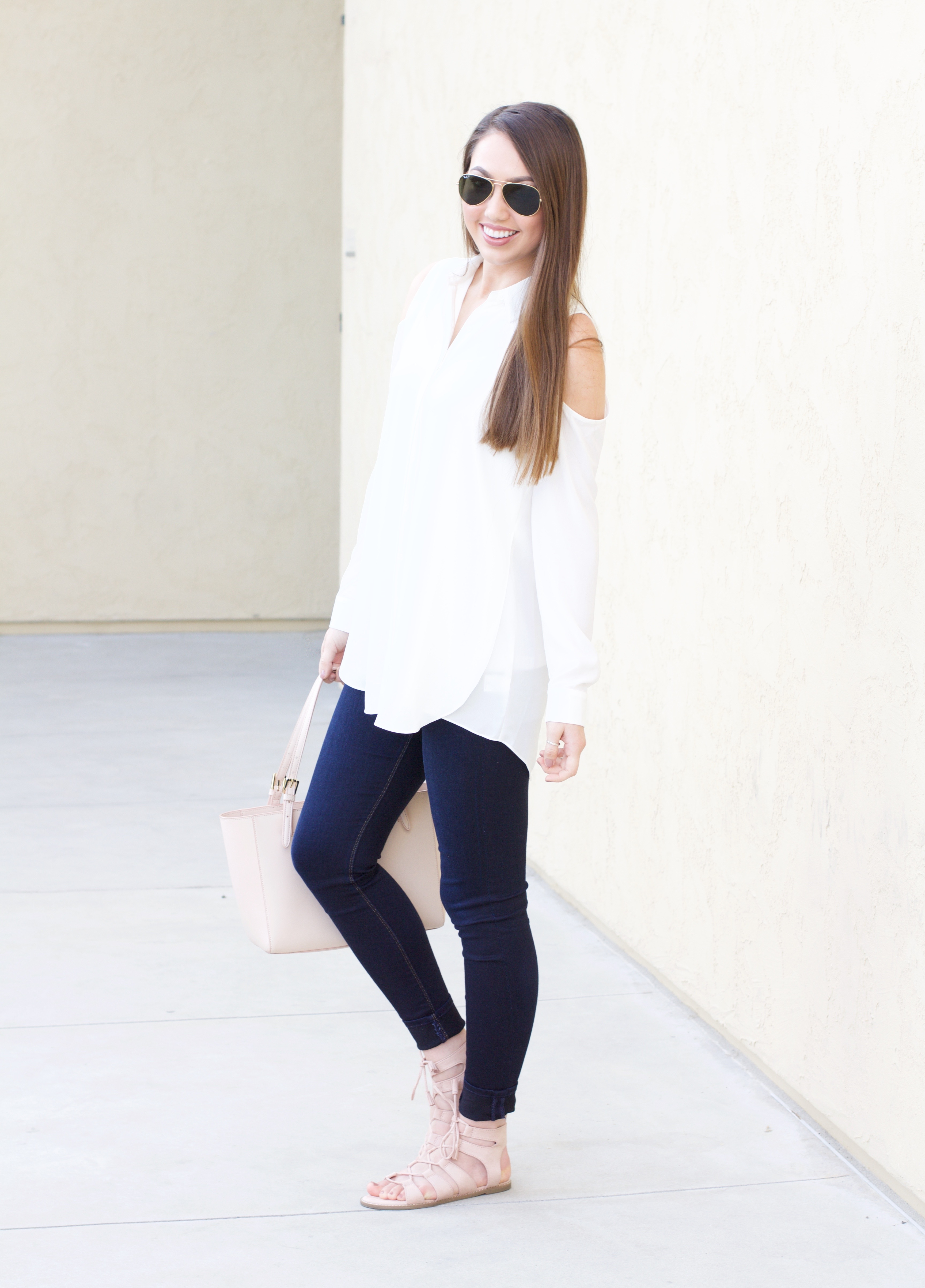 white cold shoulder long sleeve blouse