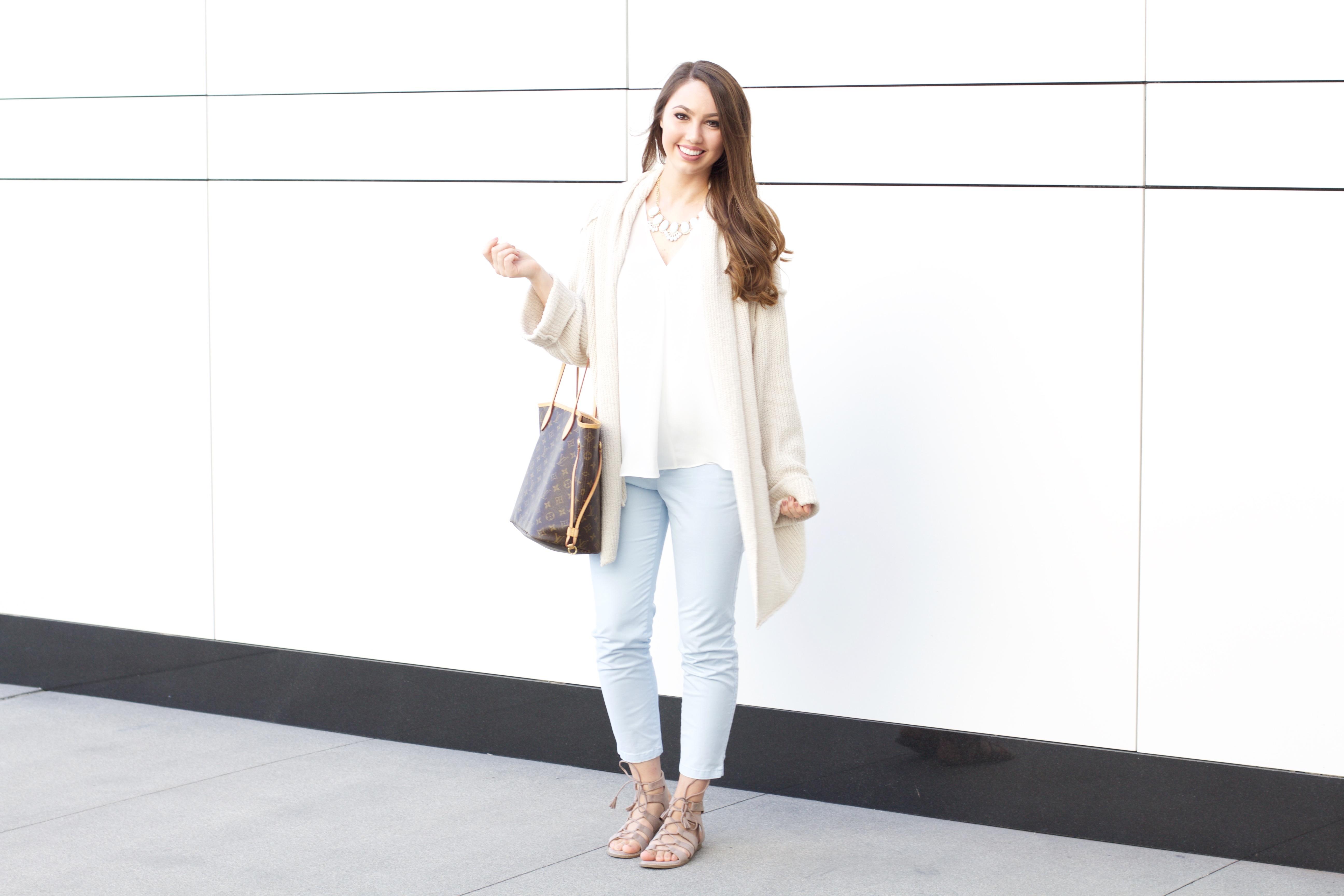 oversized beige cardigan