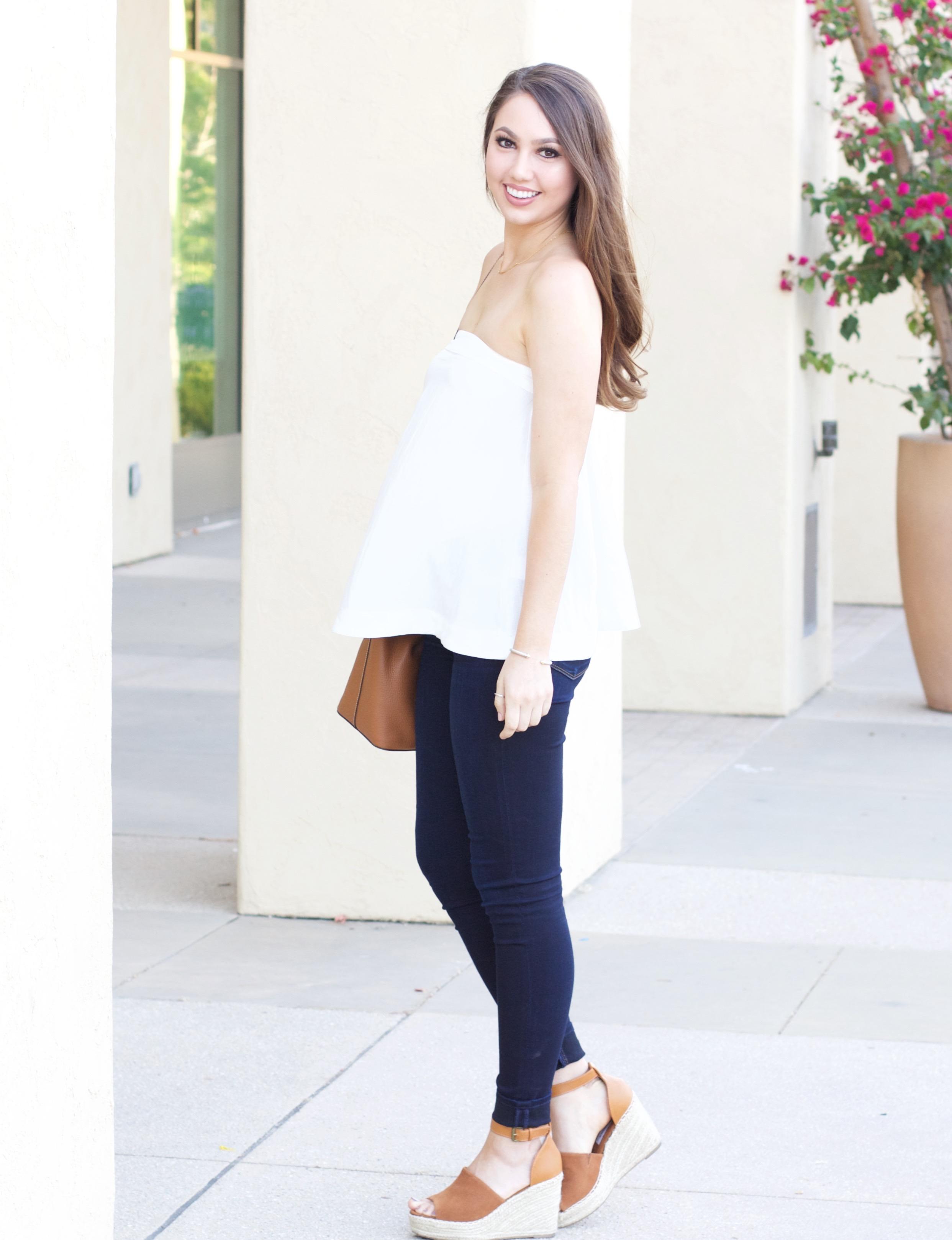 linen strapless top