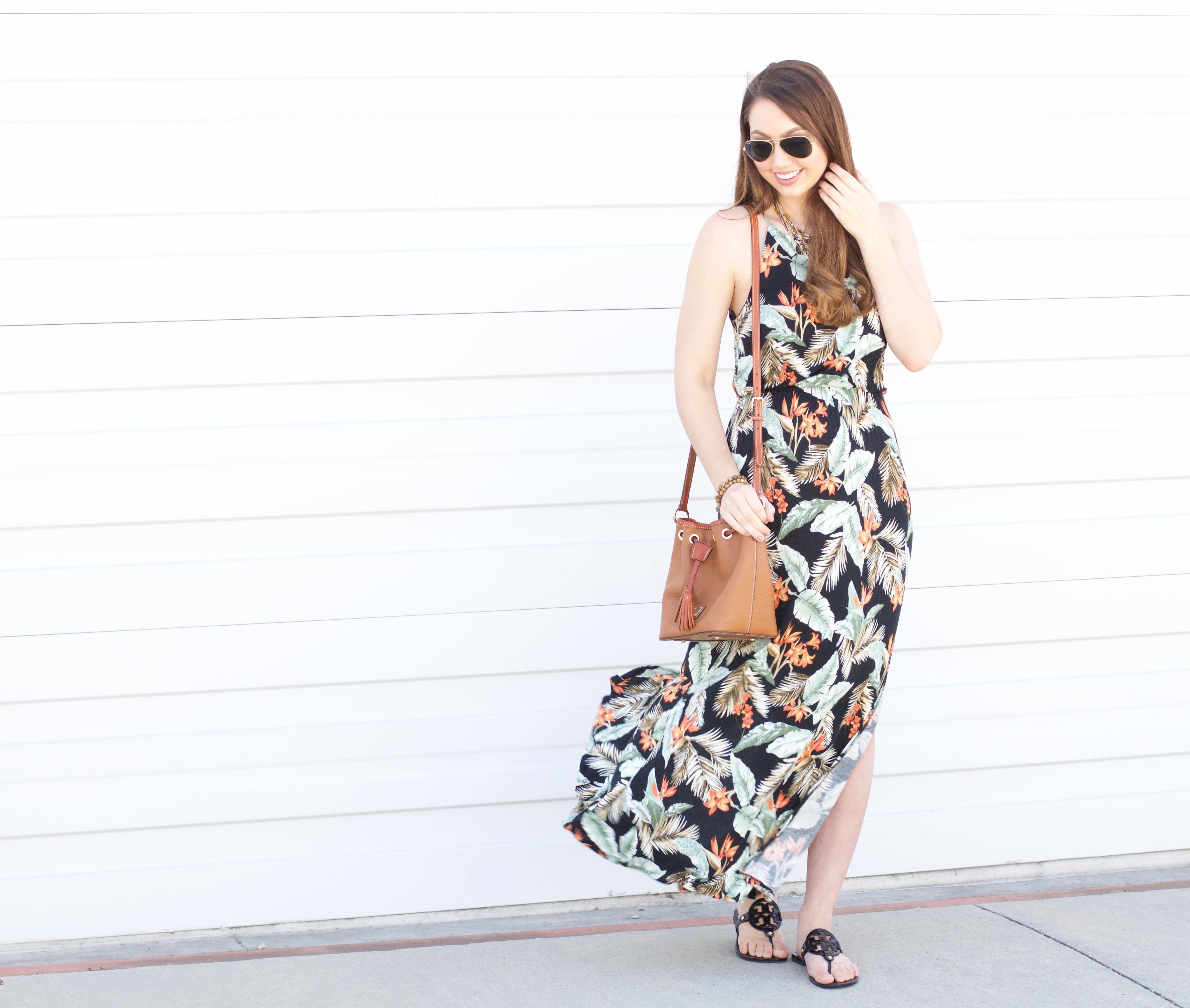 how to style a Hawaiian maxi dress