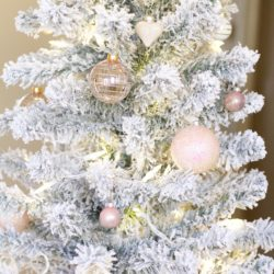Flocked Christmas Tree + Decorations under $100