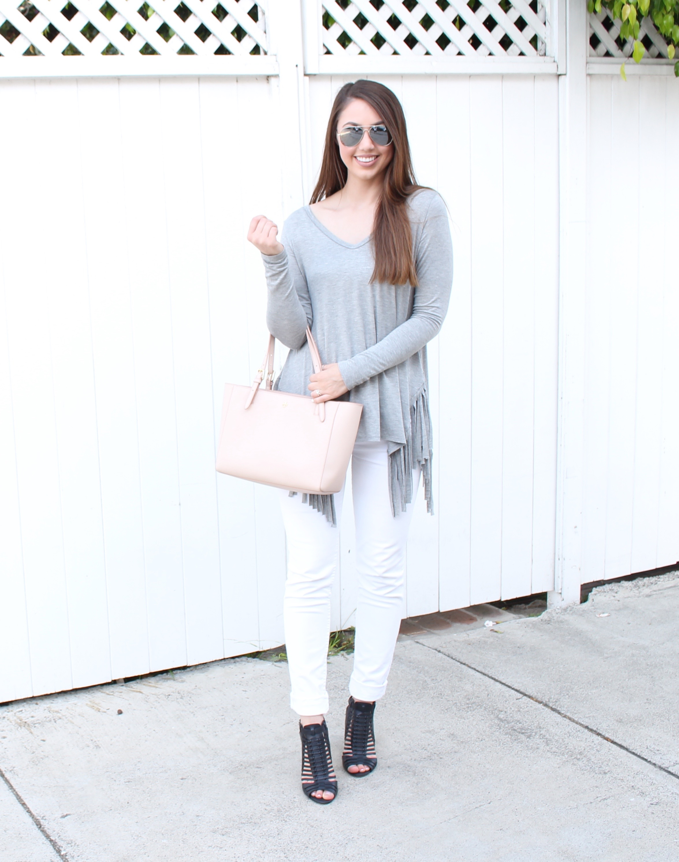 gray fringe top