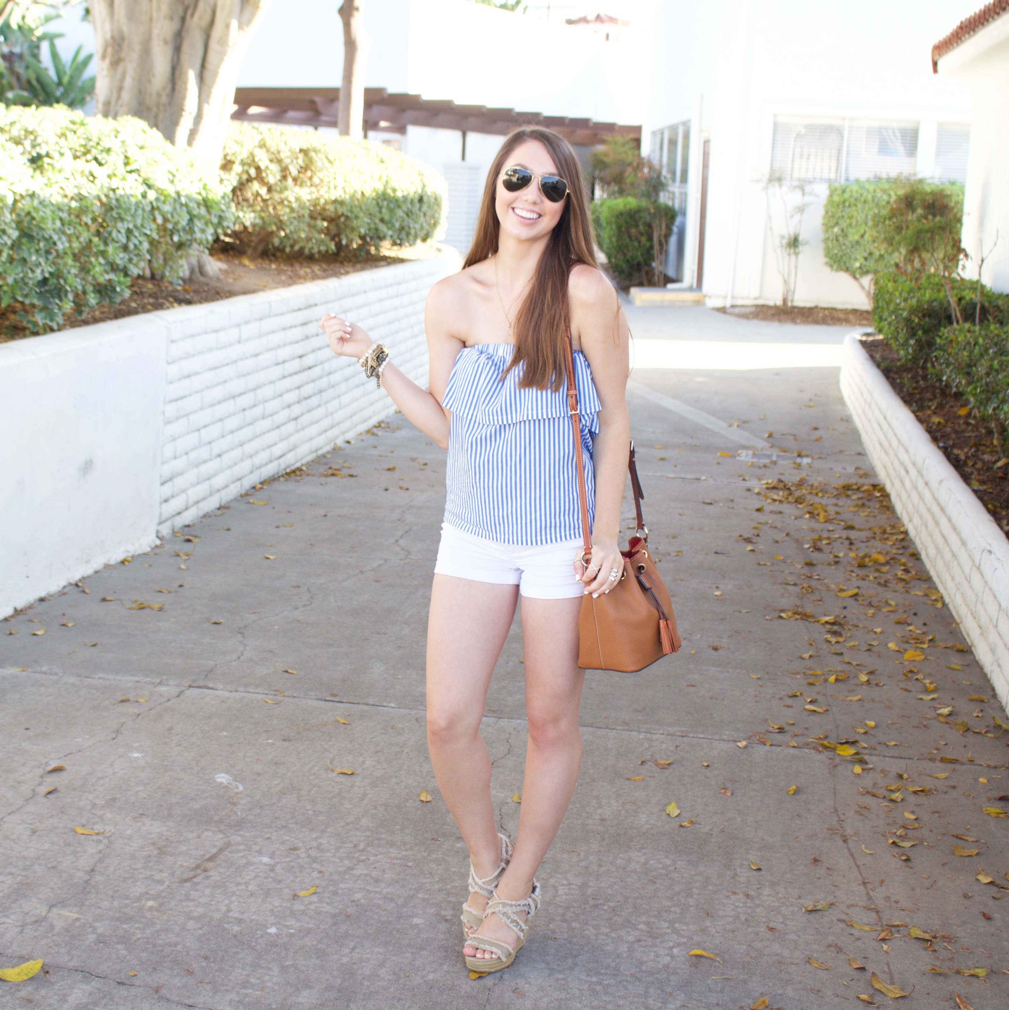 Blue and White Striped Strapless Top - My Styled Life