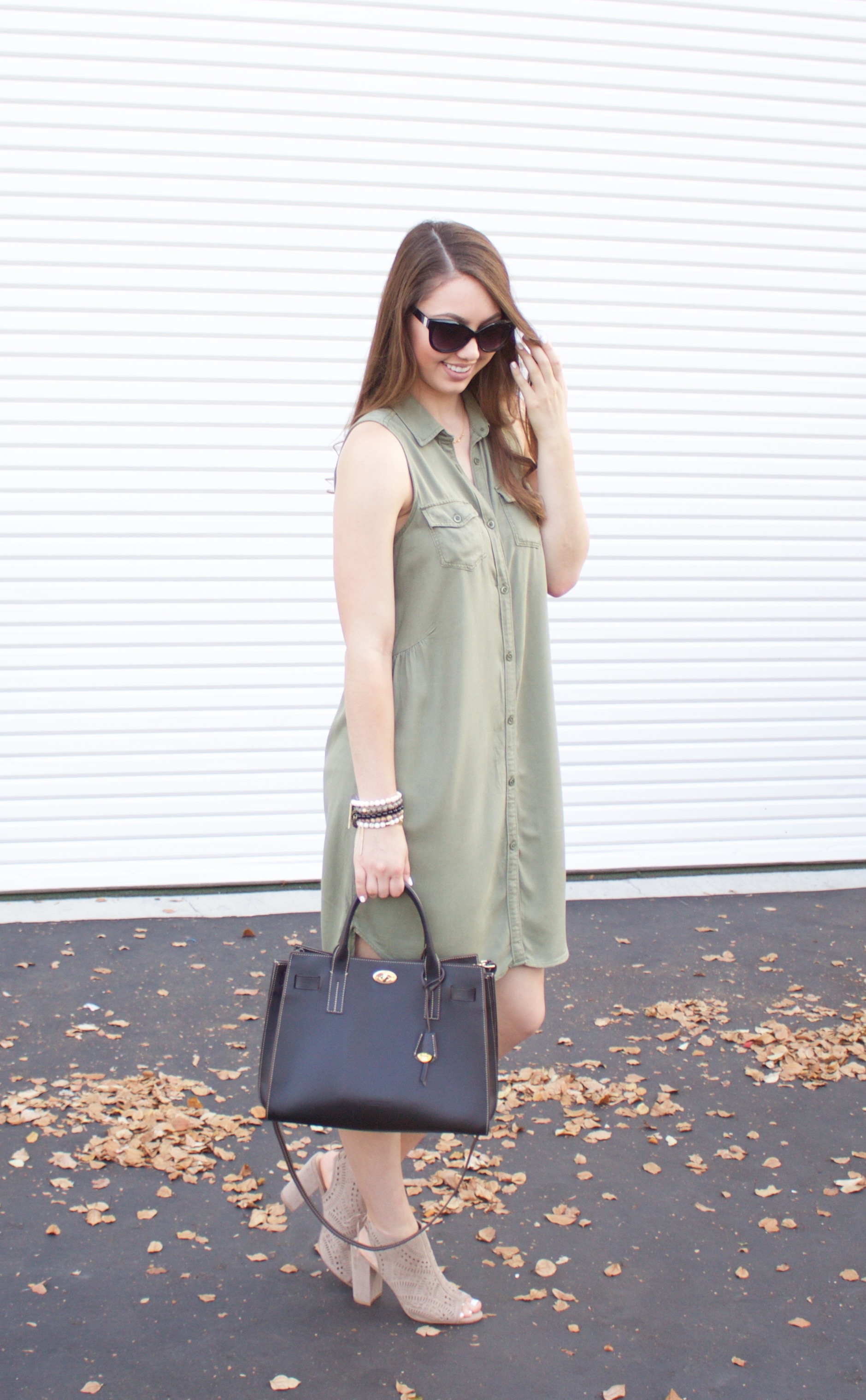 sleeveless olive green dress - my styled life