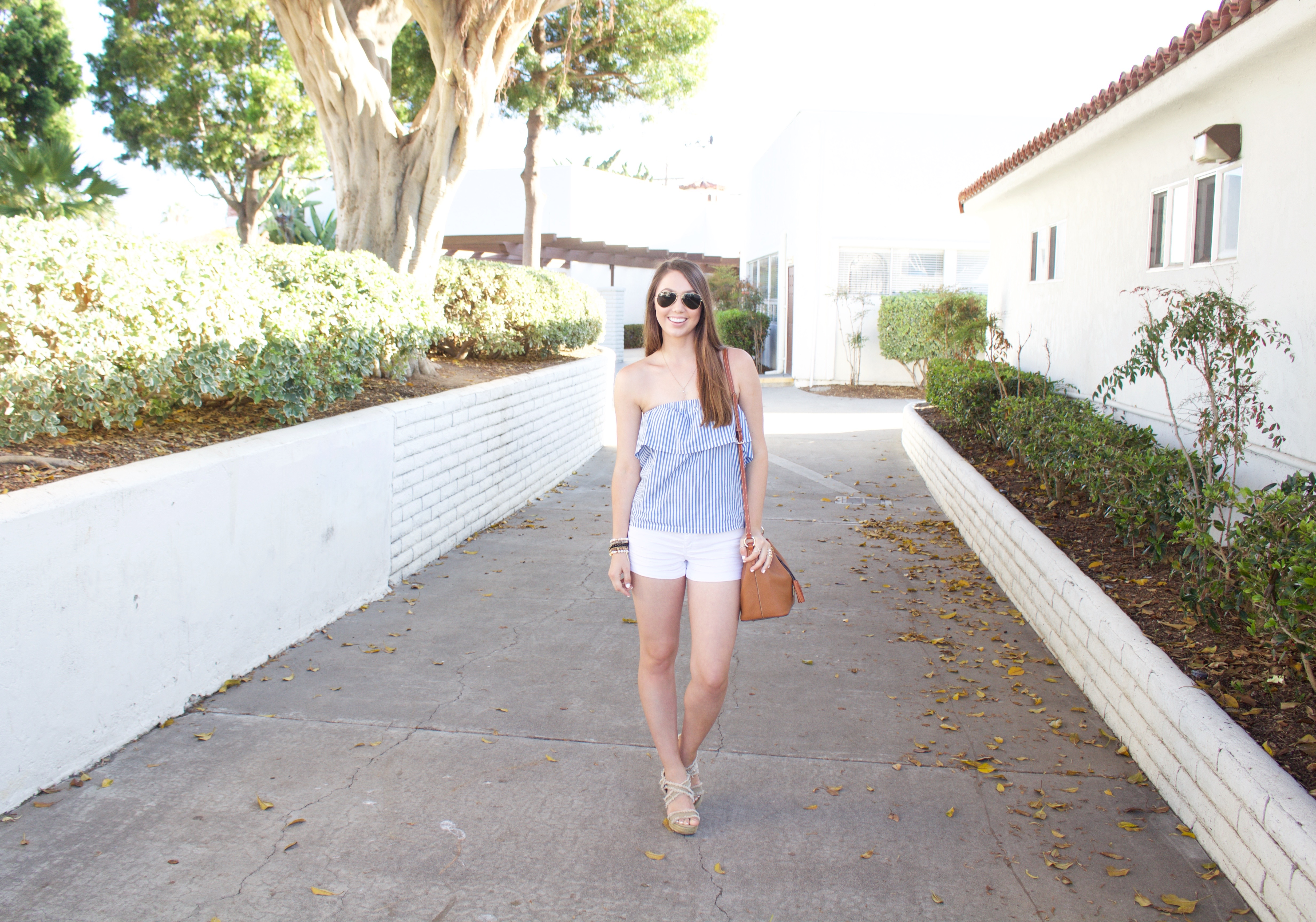 summer outfit - Blue and White Striped Strapless Top - My Styled Life