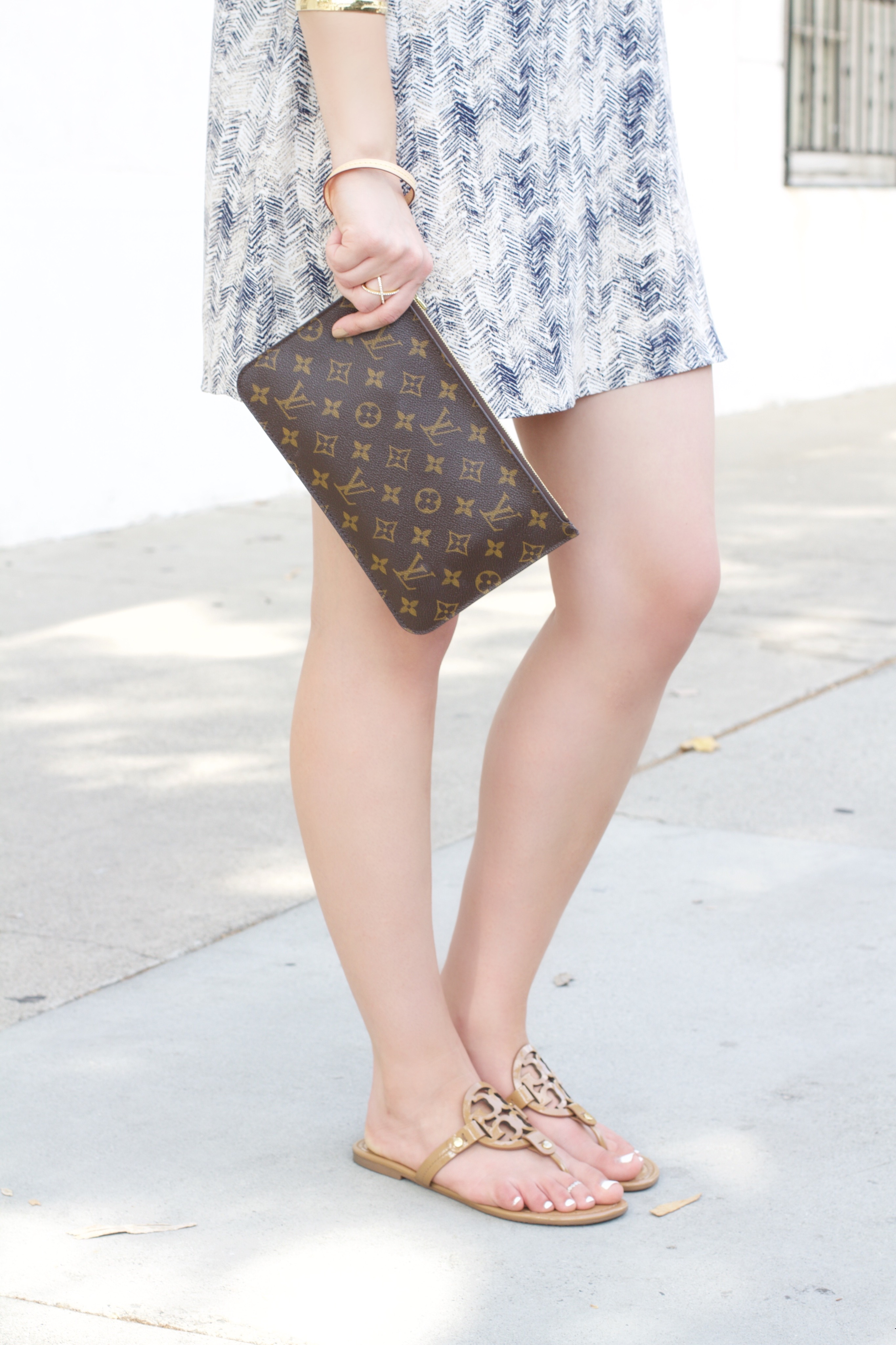 f34c96fc0 louis vuitton neverfull clutch   Tory Burch Nude Miller sandals – My Styled  Life