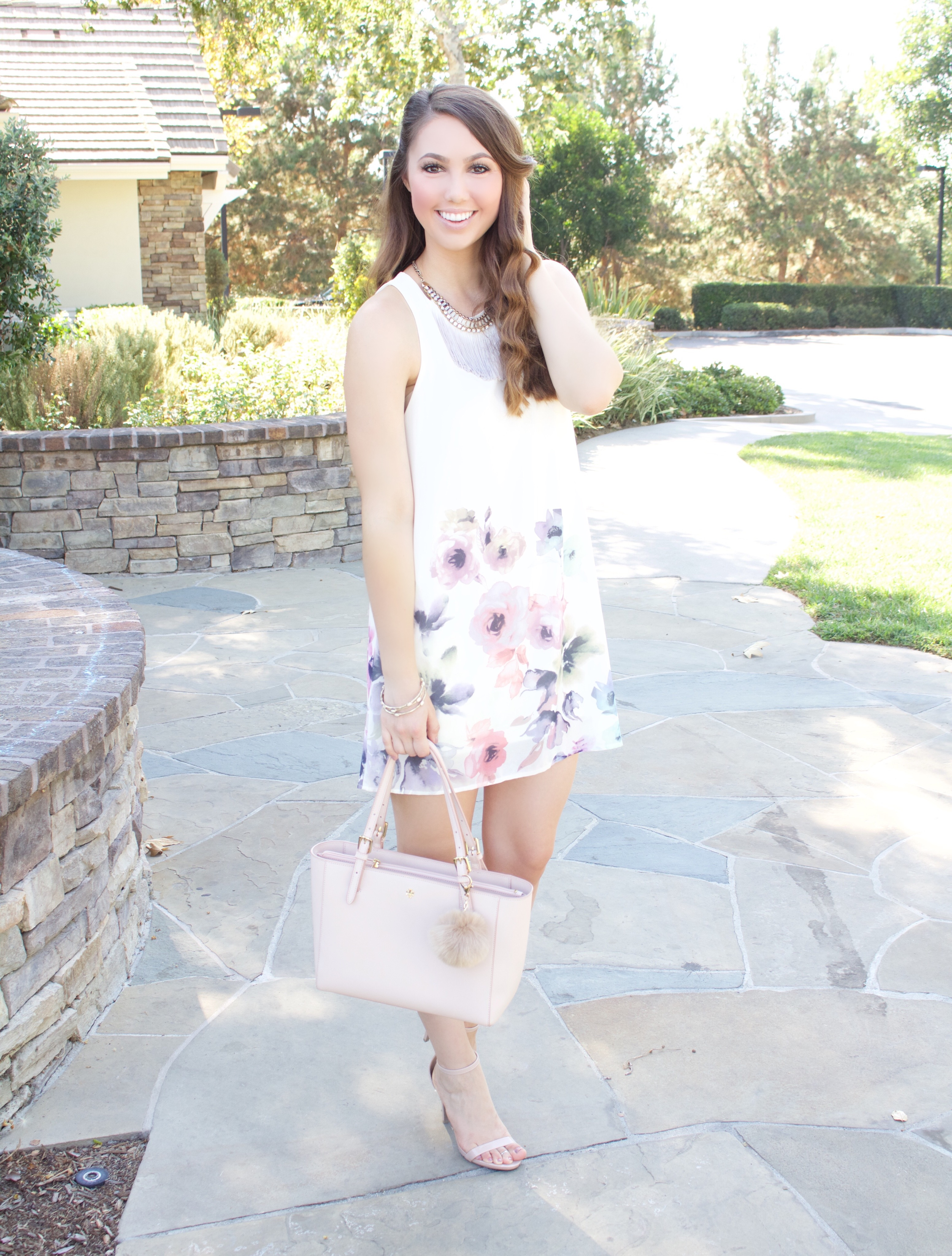 ivory floral watercolor dress - My Styled Life