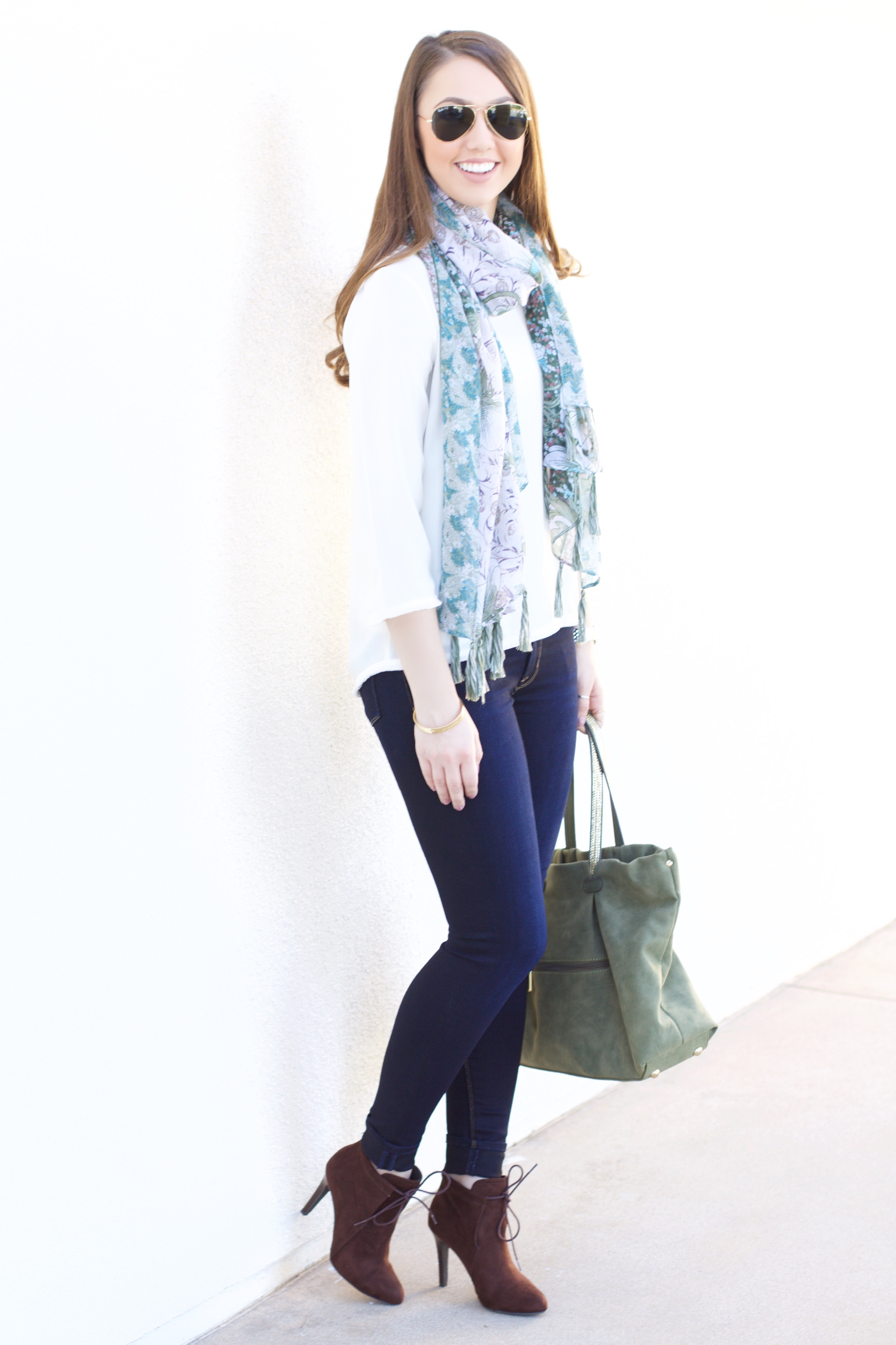 Blue and Green Tassel Scarf