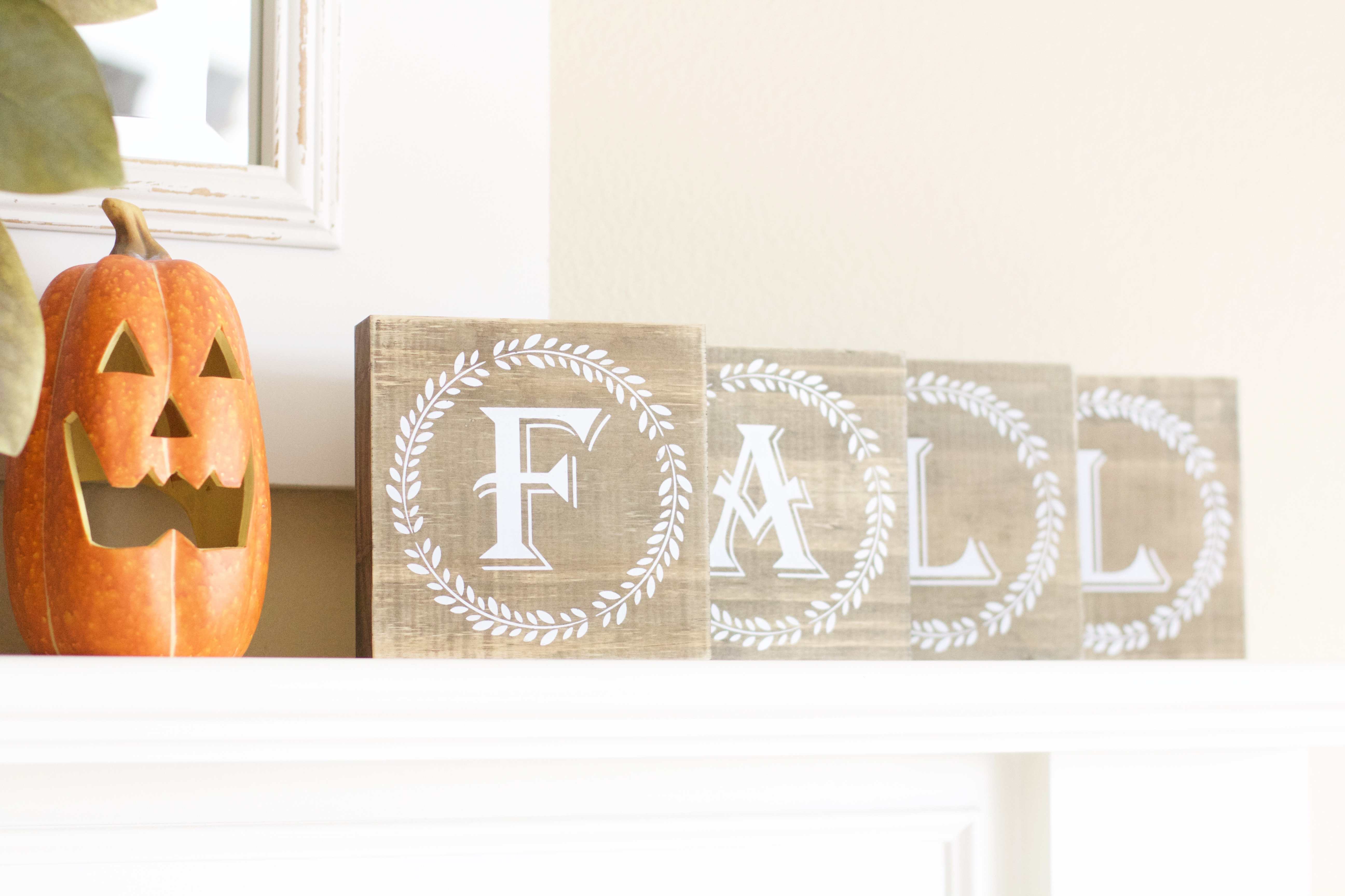 Hobby Lobby Wood Letters - Fall Mantle Decor
