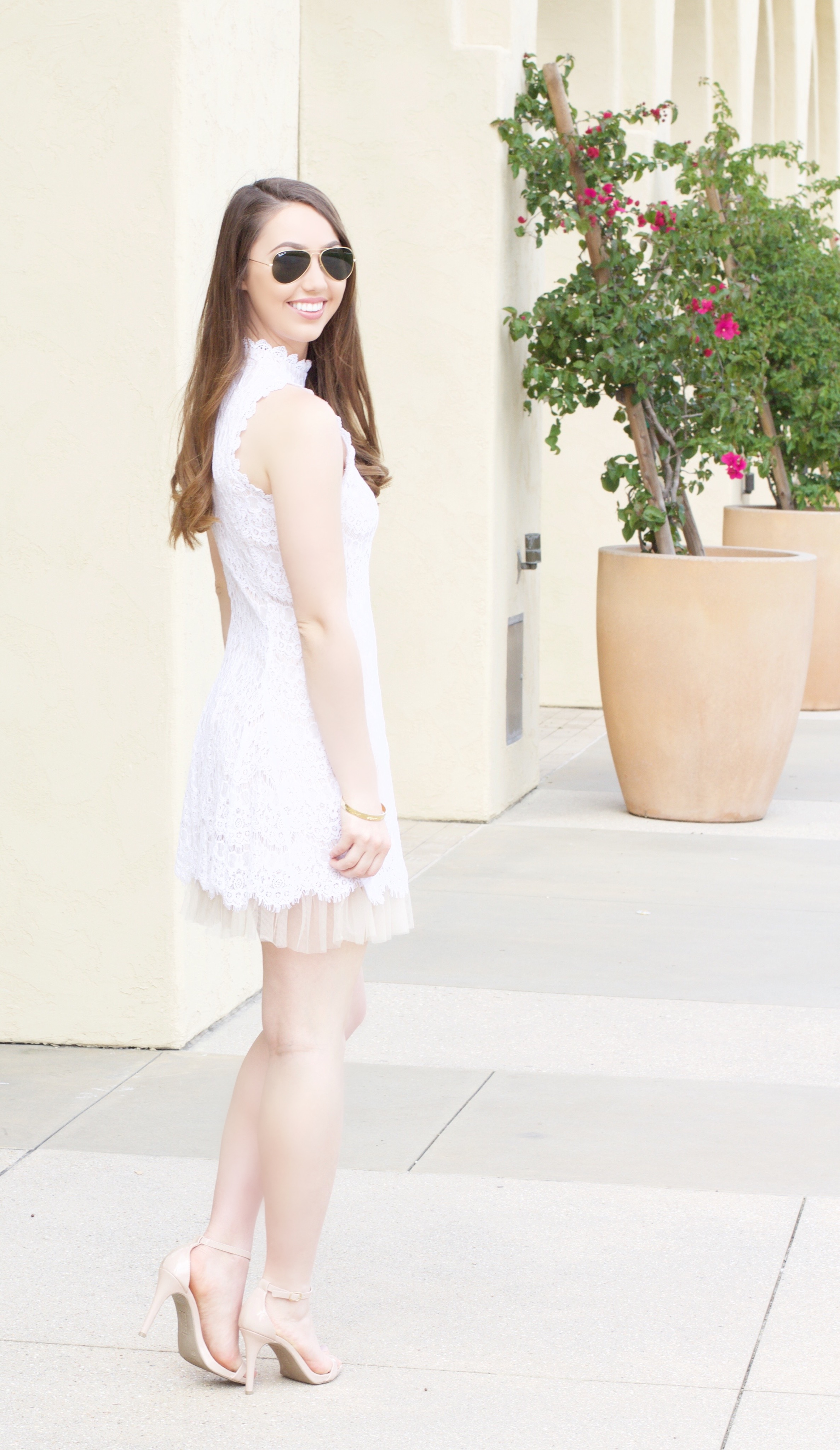 high neck white lace dress