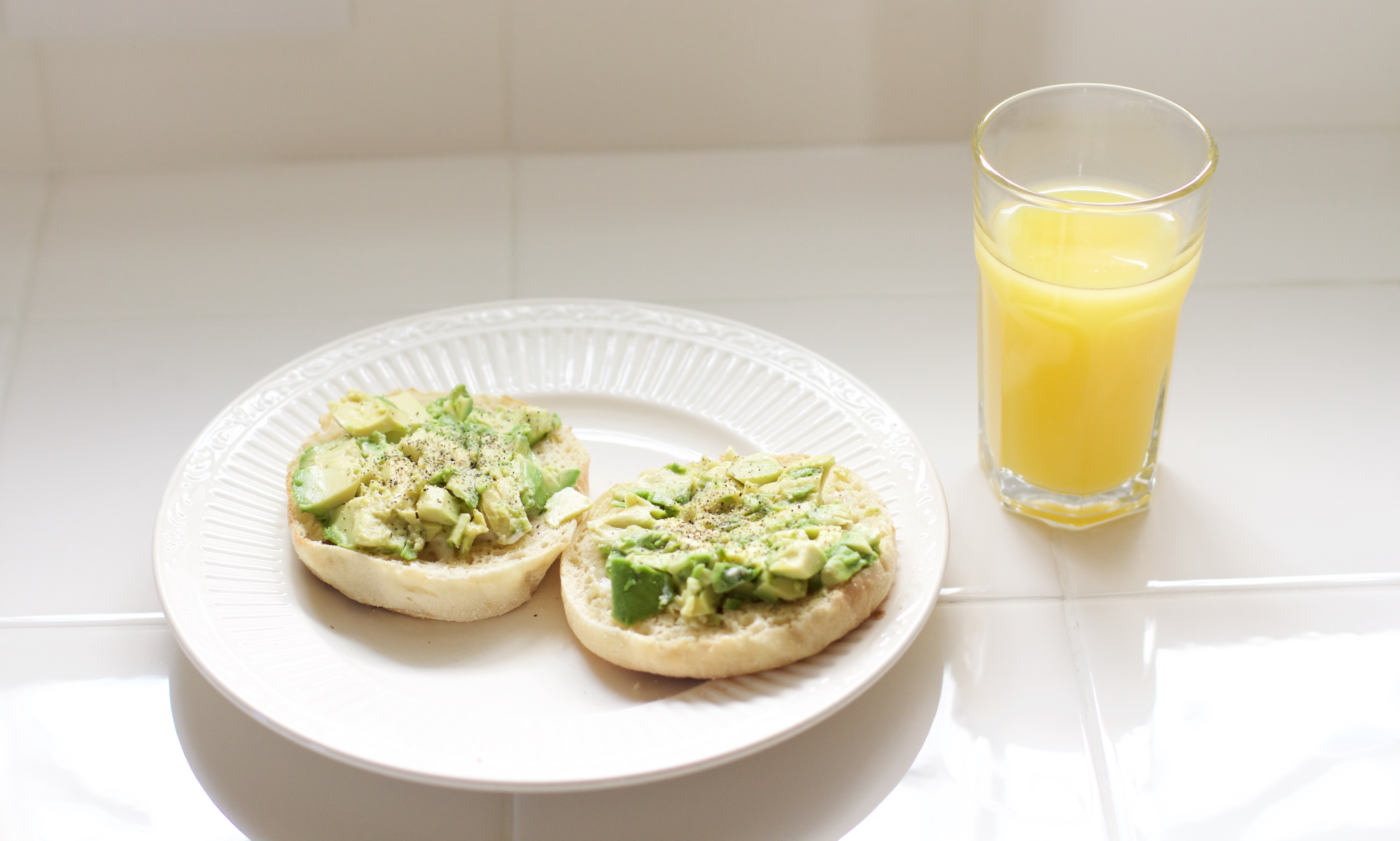 avocado toast on english muffin