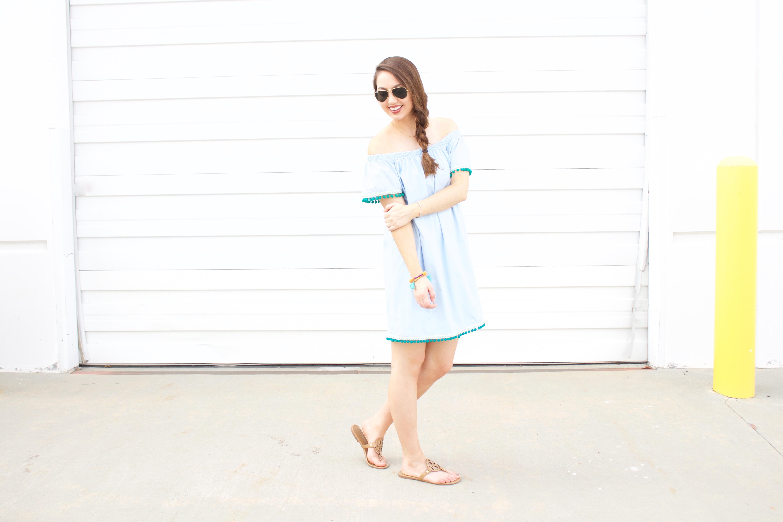 blue off the shoulder pom pom dress
