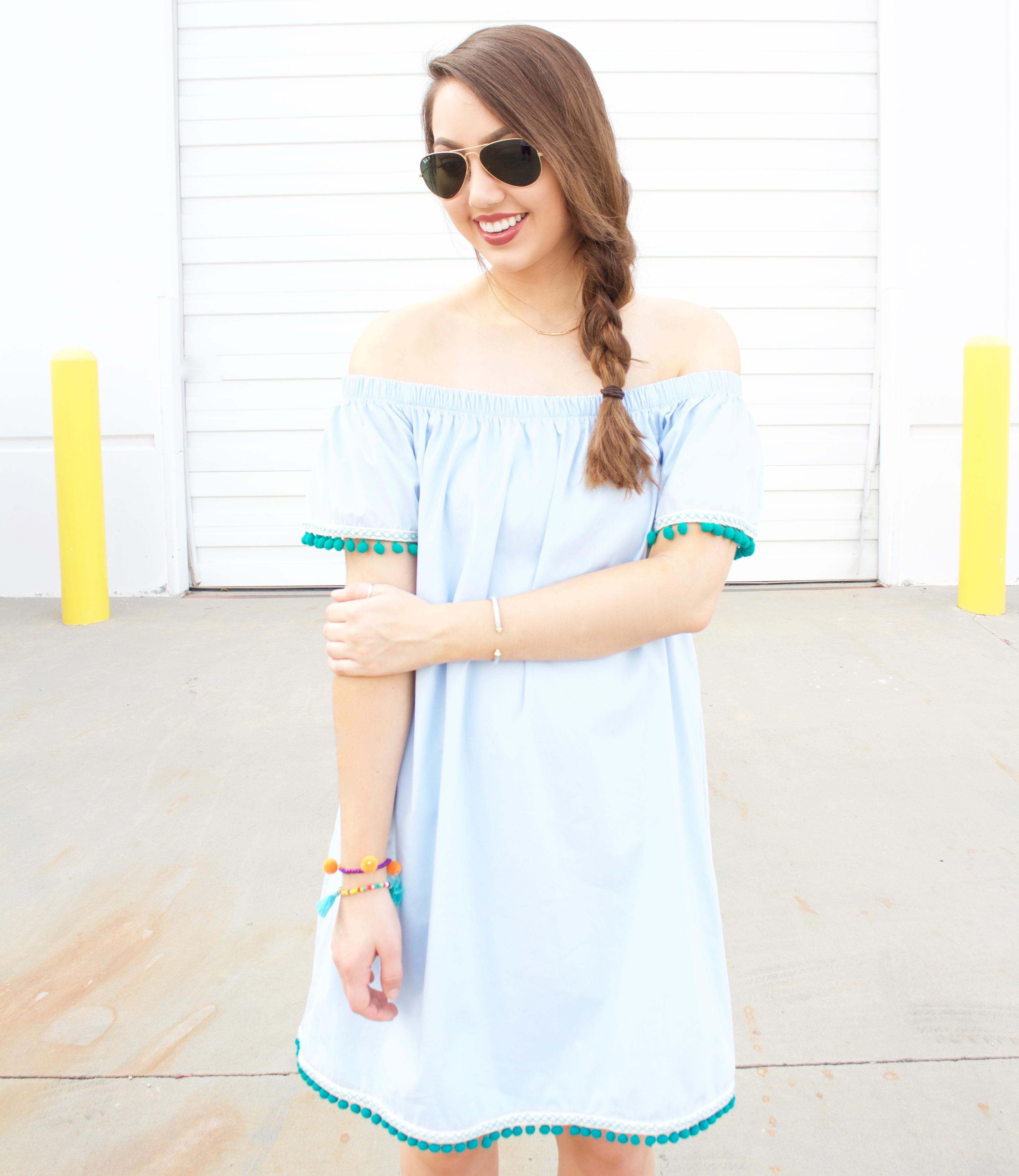 off the shoulder light blue dress