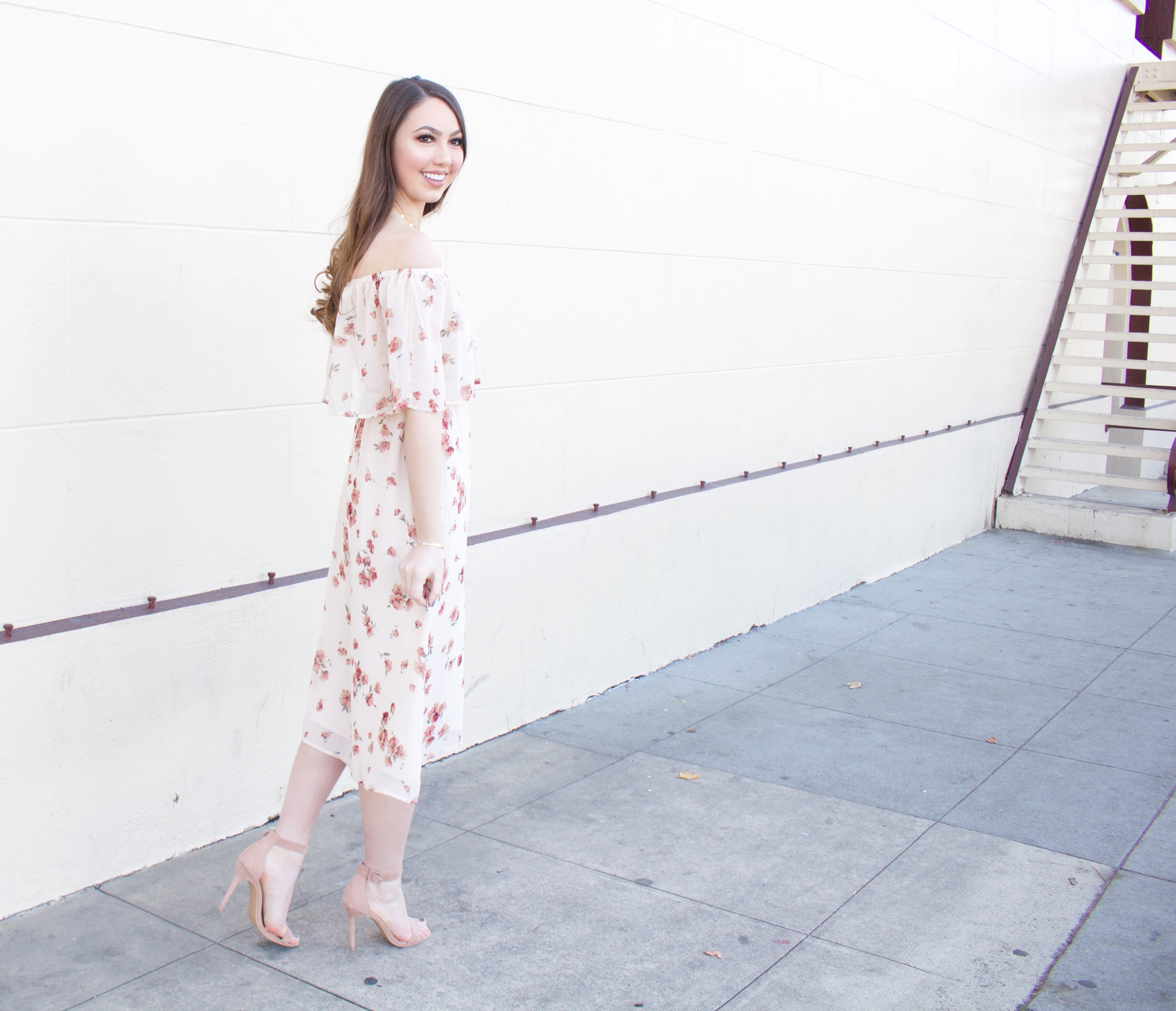 off the shoulder floral pink dress