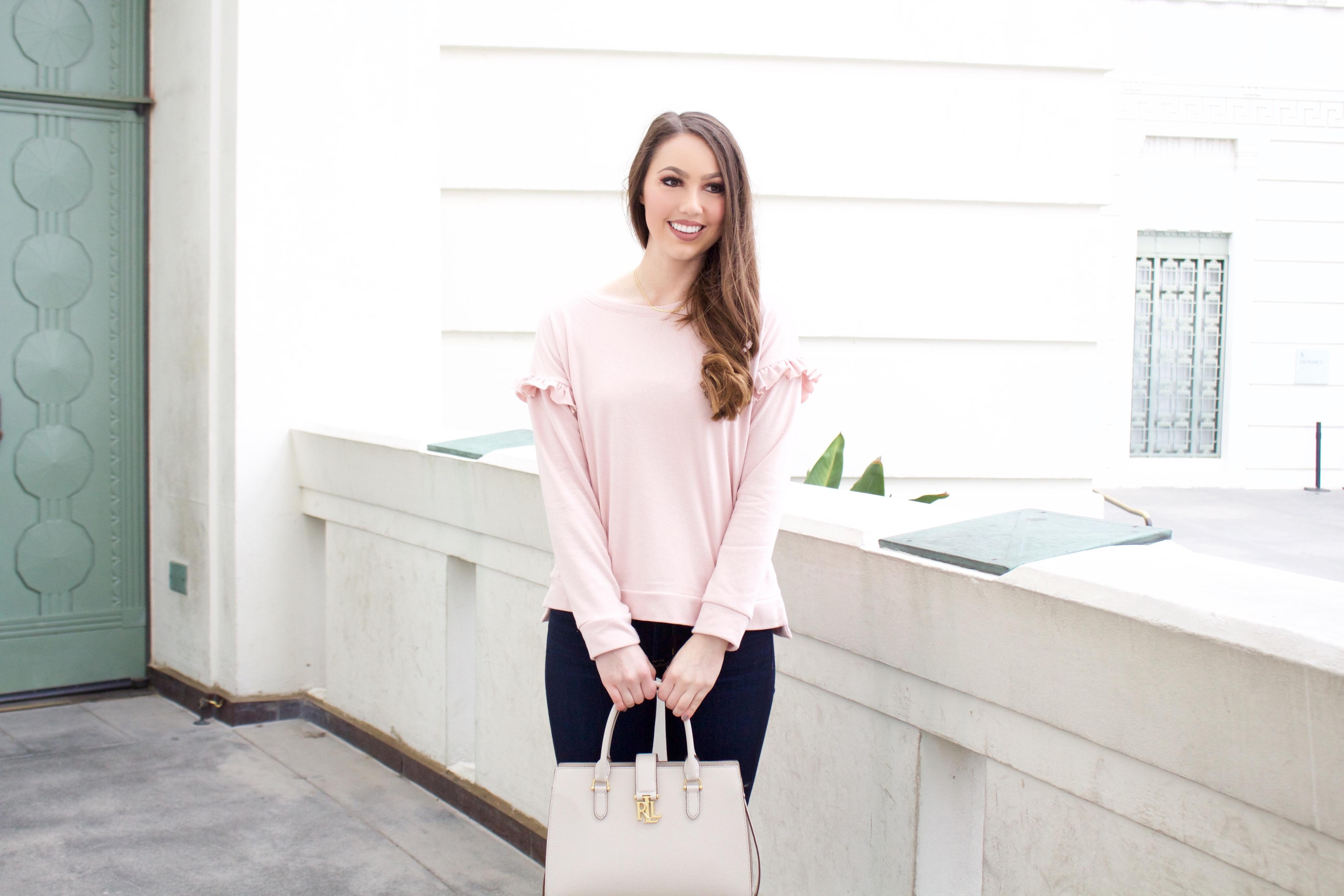 pink ruffle sweatshirt