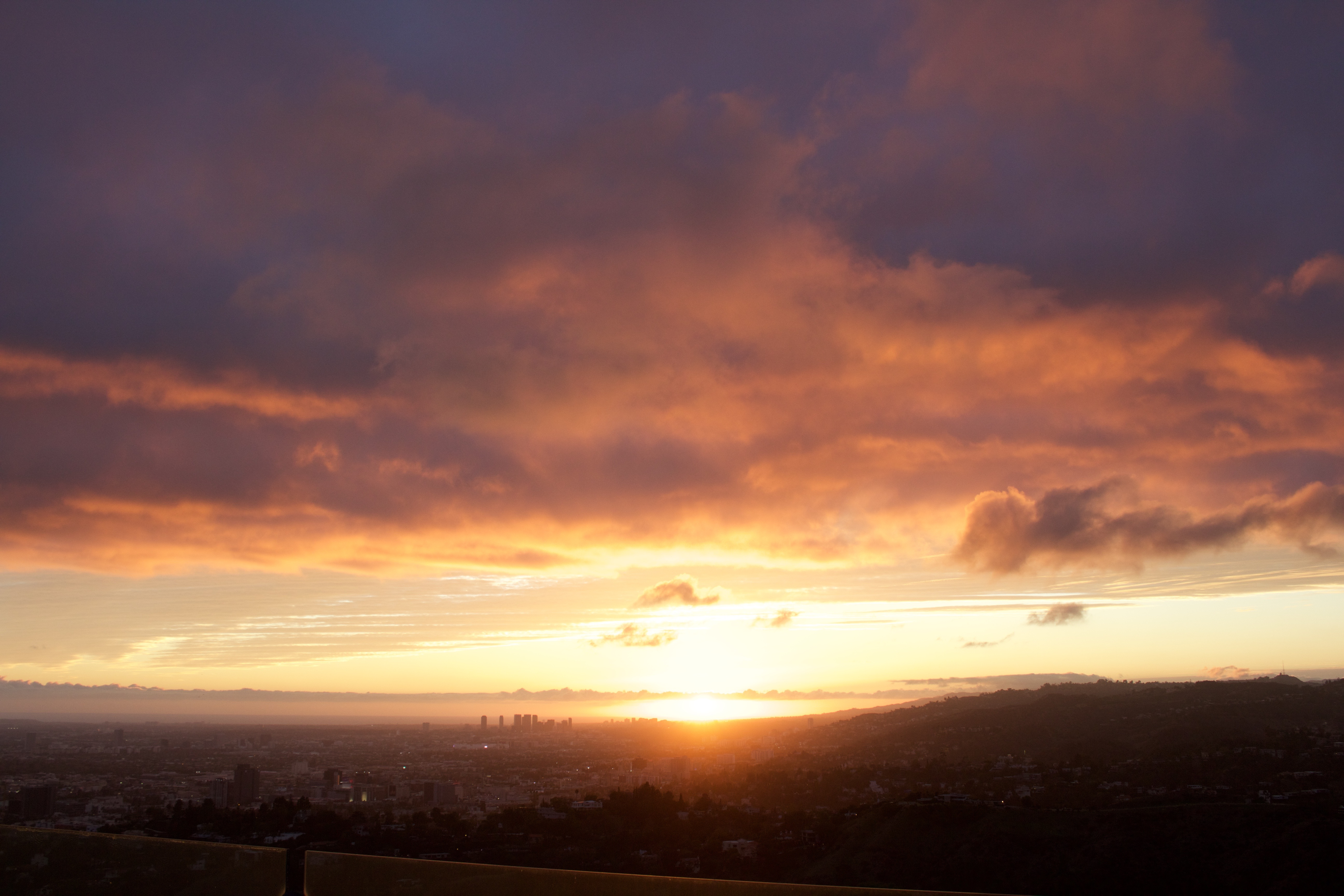 sunset at the Griffith Observatory