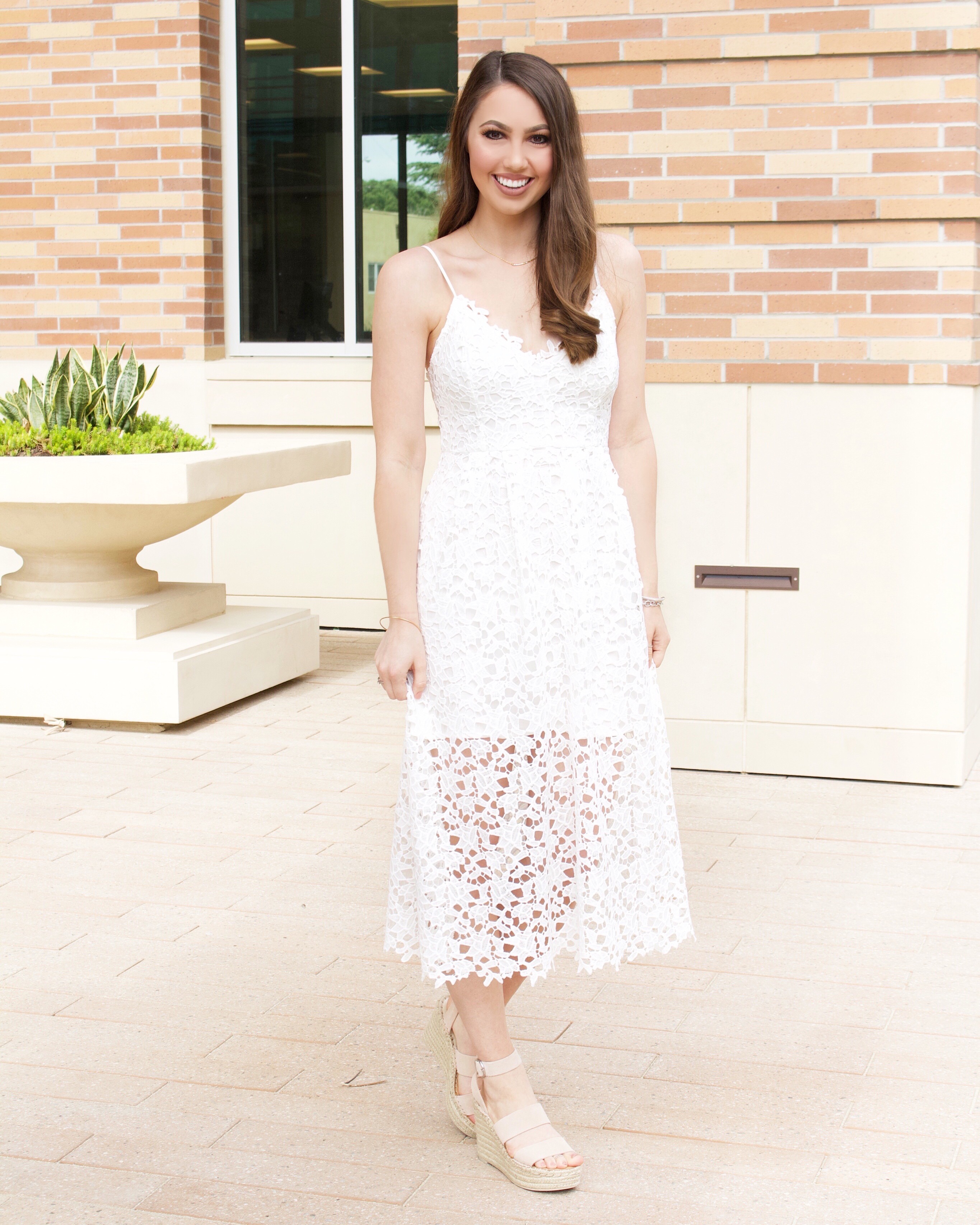 astr the label lace midi dress white
