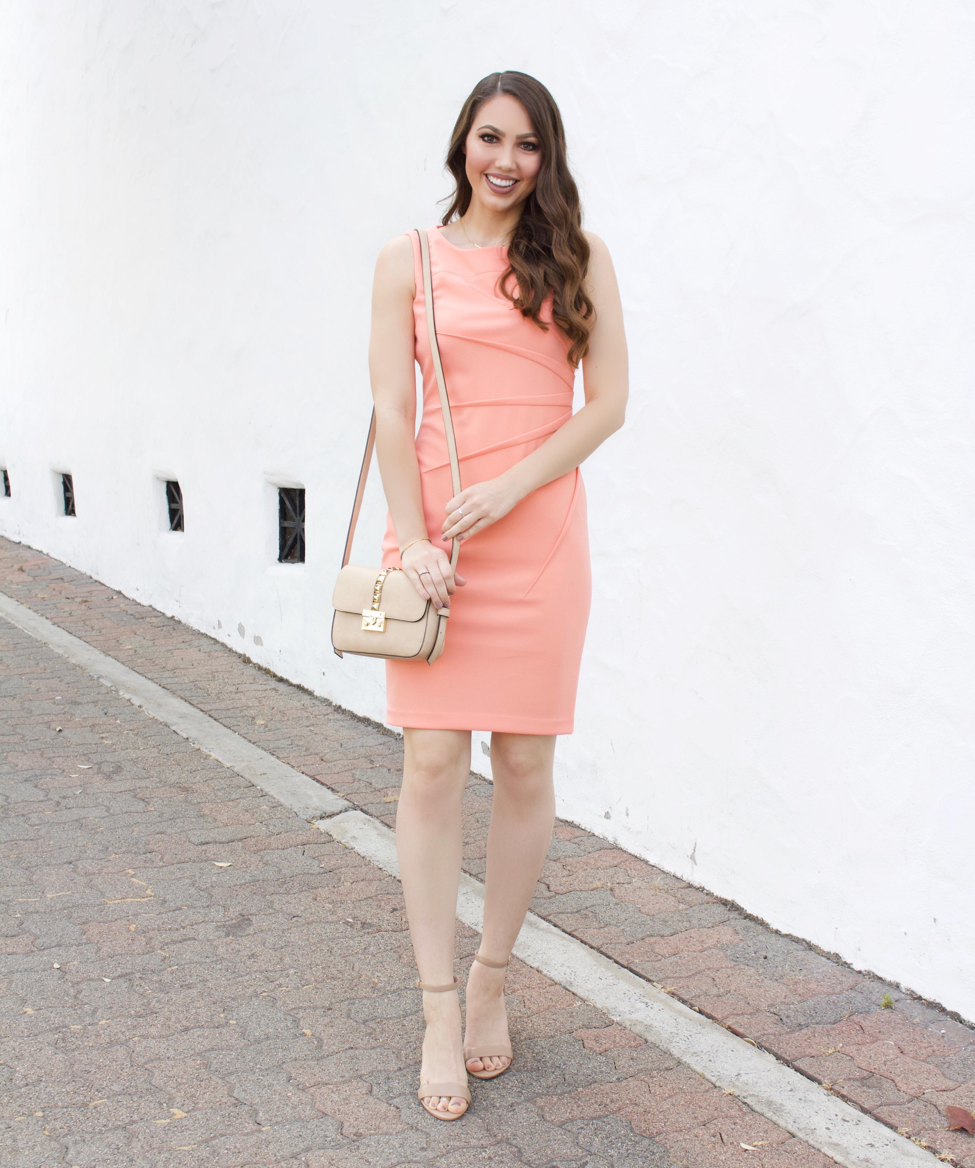 calvin klein dress peach pink
