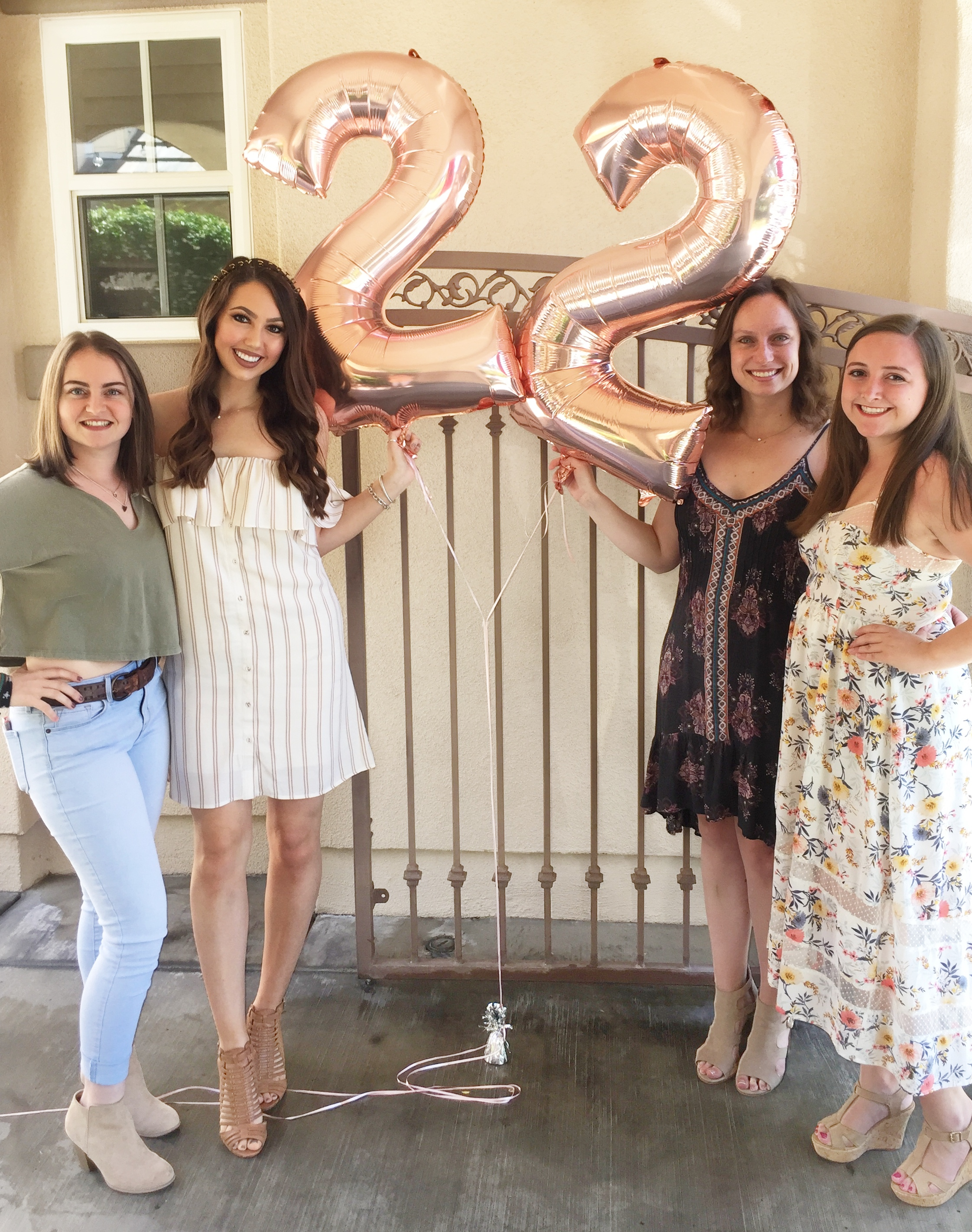 rose gold number balloons birthday 22