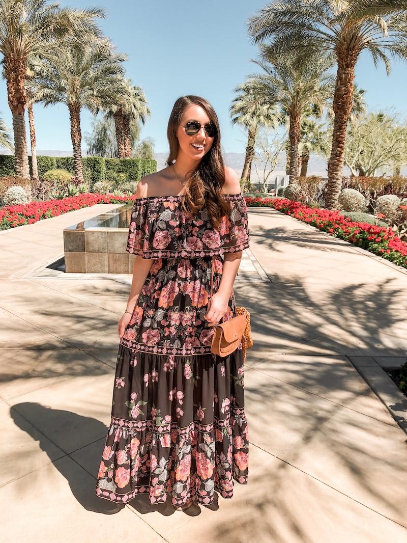 off the shoulder black floral maxi dress