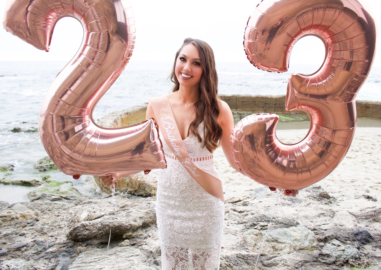 rose gold birthday number balloons