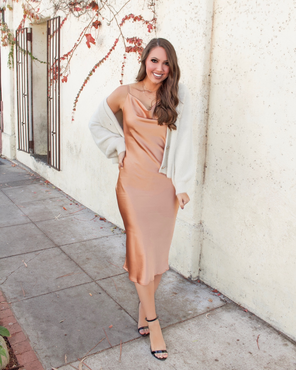 champagne Cowl Neck Satin Midi Dress