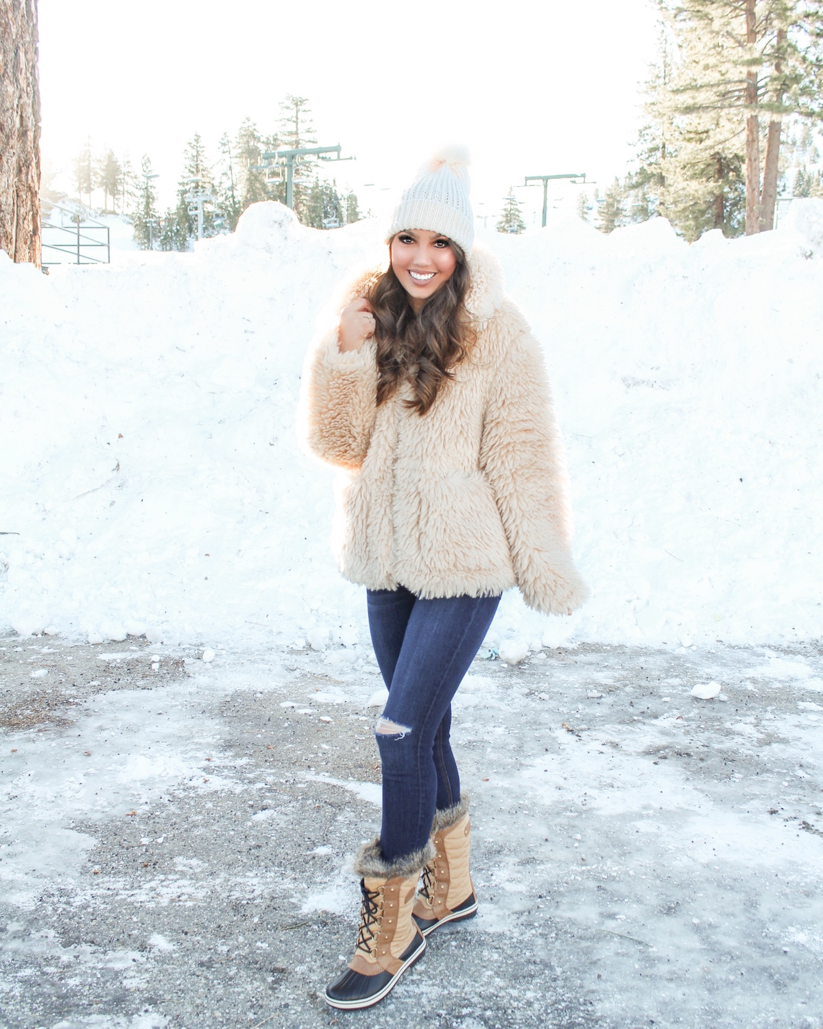 sorel boots snow outfit idea