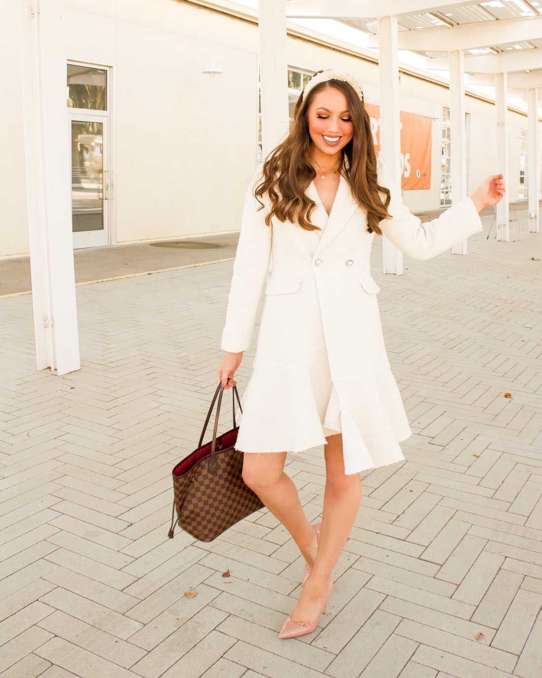 winter white coat outfit
