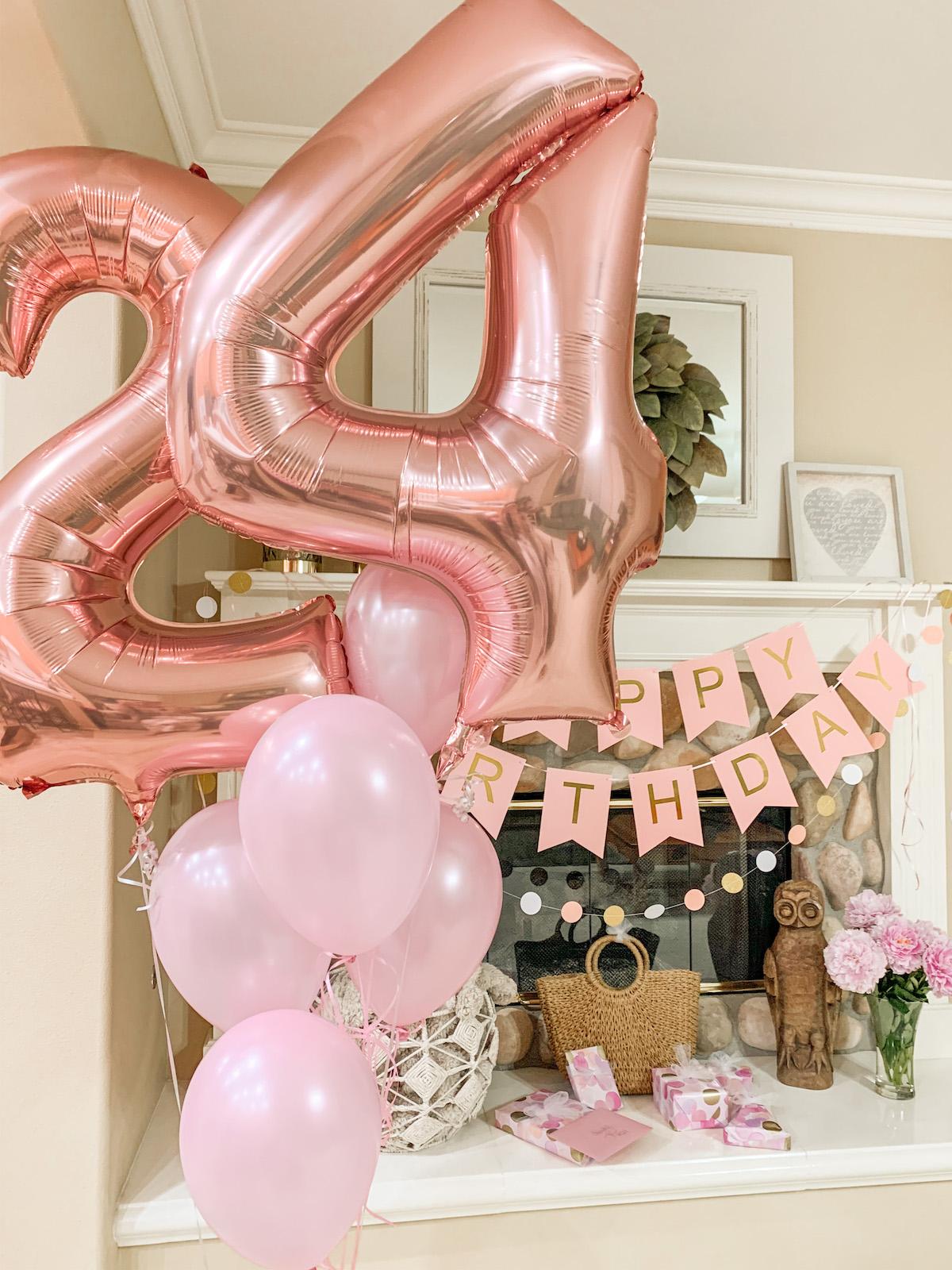 24th birthday balloons rose gold